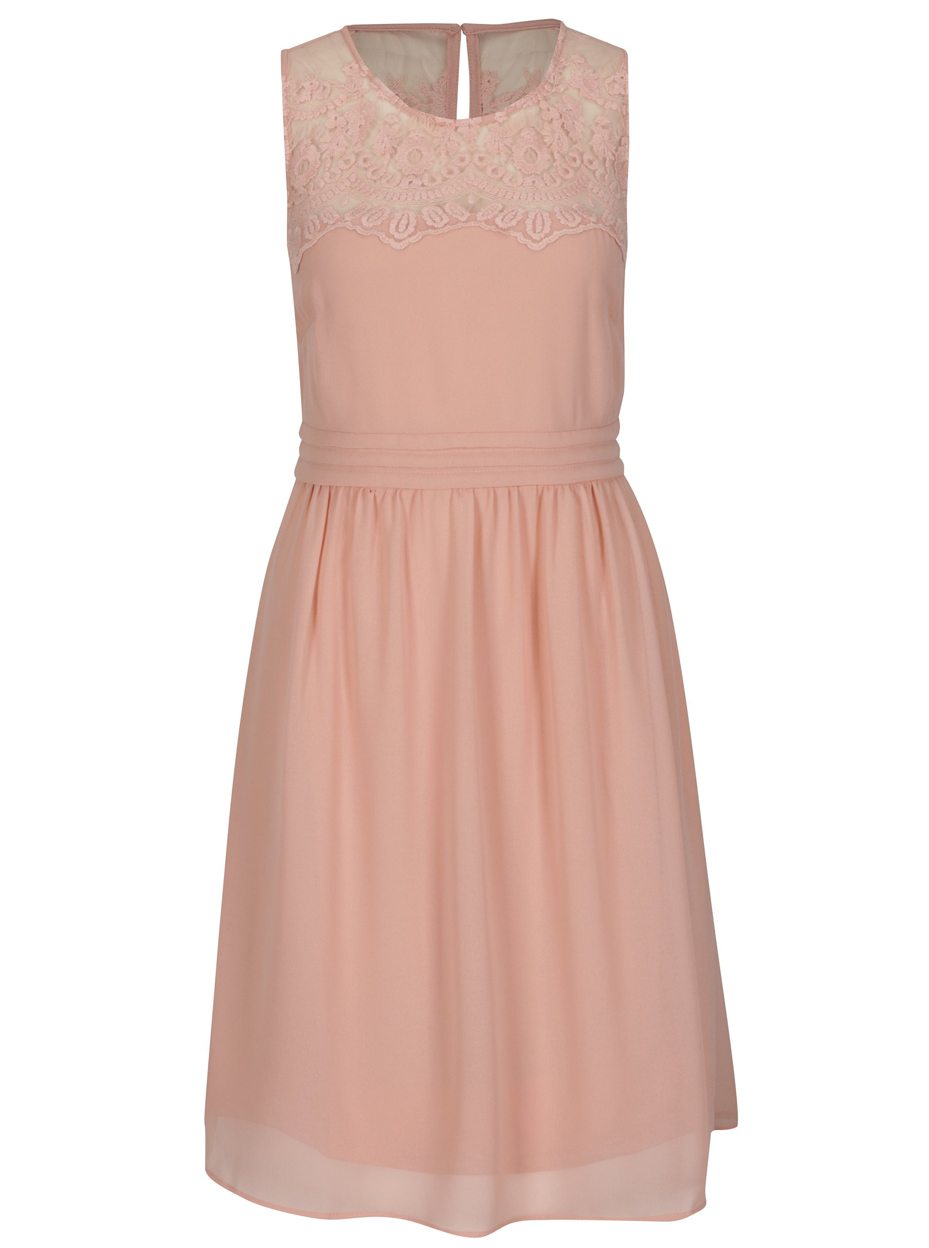 1d23db97100a Růžové šaty s krajkou VERO MODA Vanessa