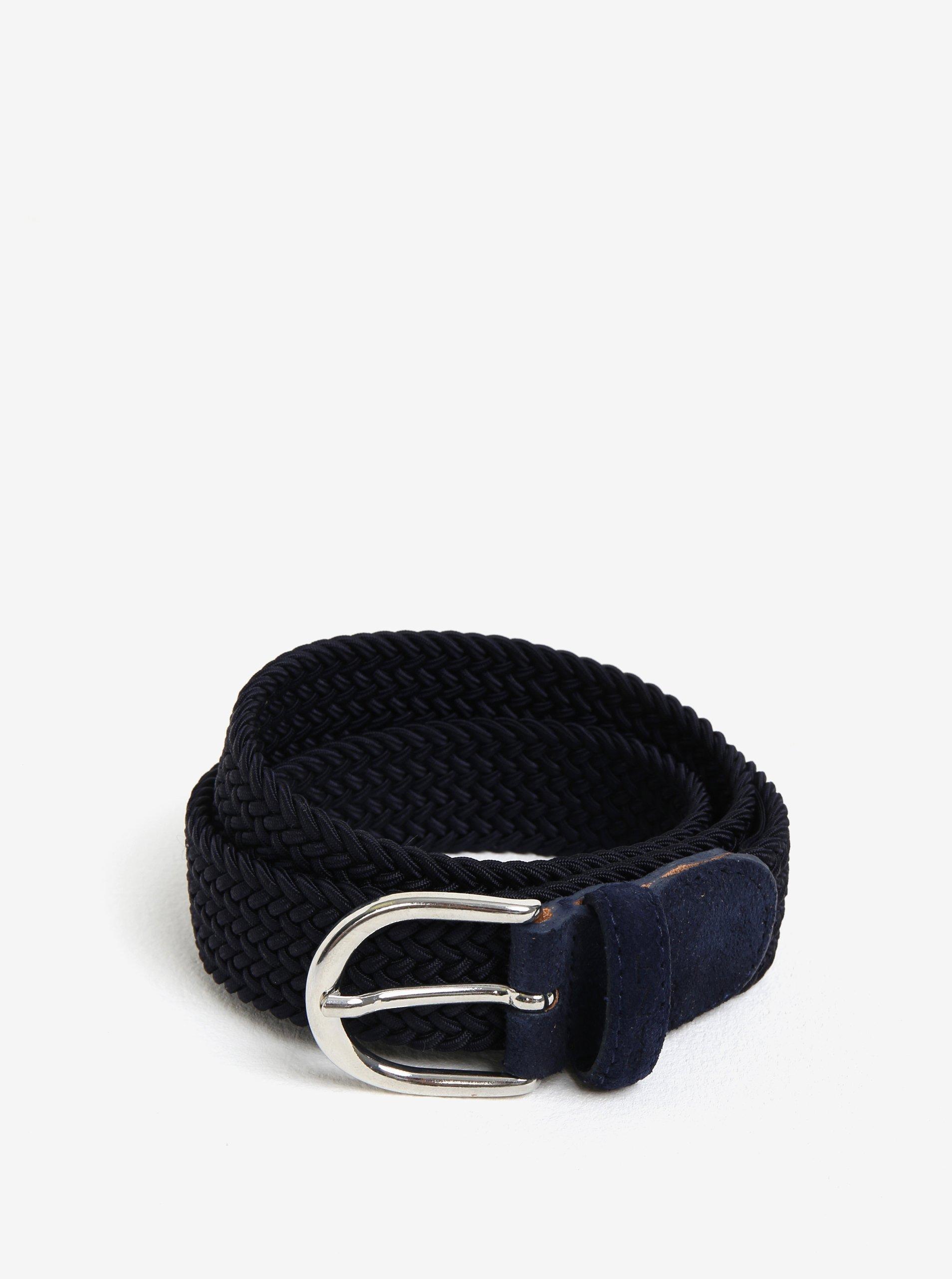 Tmavě modrý dámský pásek se sponou ve stříbrné barvě GANT