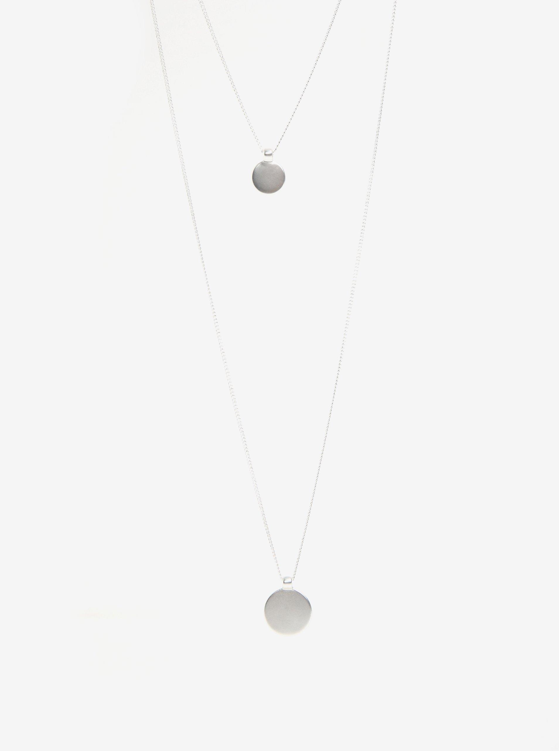 Dvojitá retiazka s príveskom v striebornej farbe Pieces Bree 1ed0555dc40