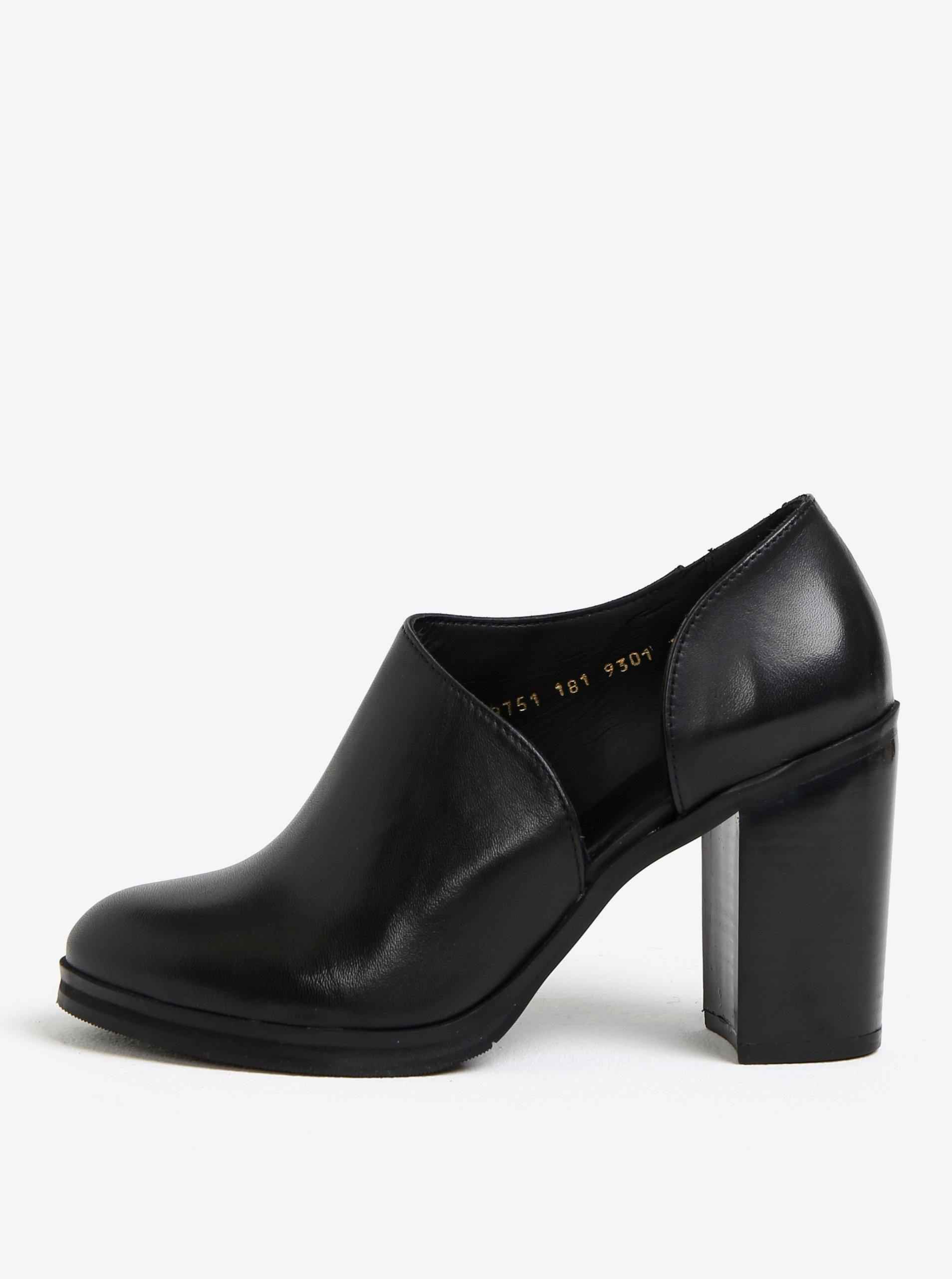 Černé dámské kožené polobotky na vysokém podpatku Royal RepubliQ