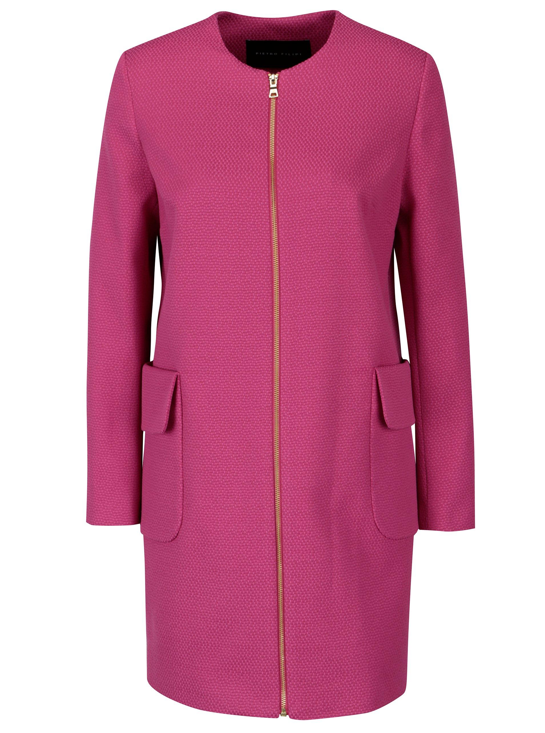 2519489099 Ružový dámsky kabát Pietro Filipi