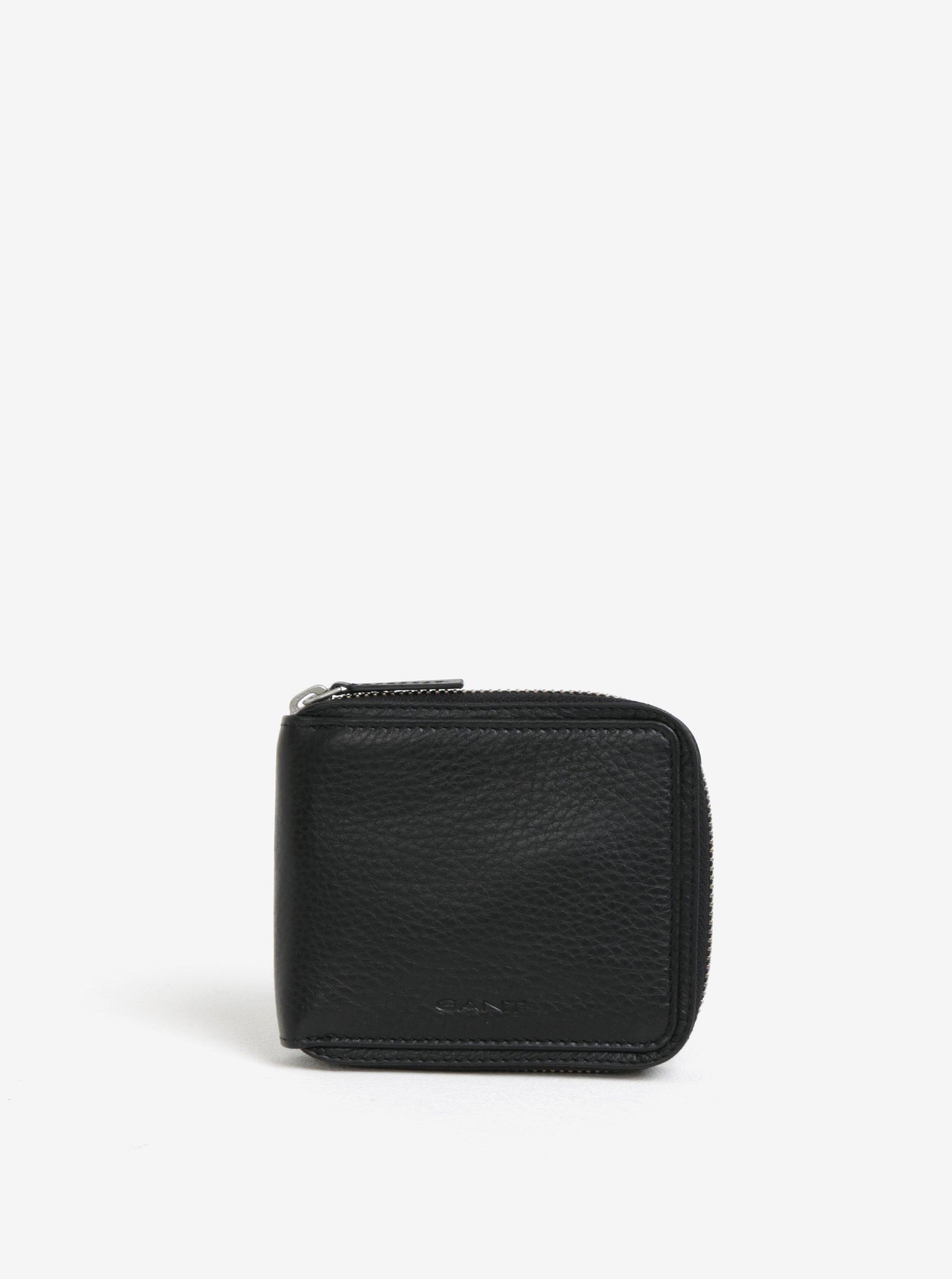 Čierna pánska kožená peňaženka na zips GANT