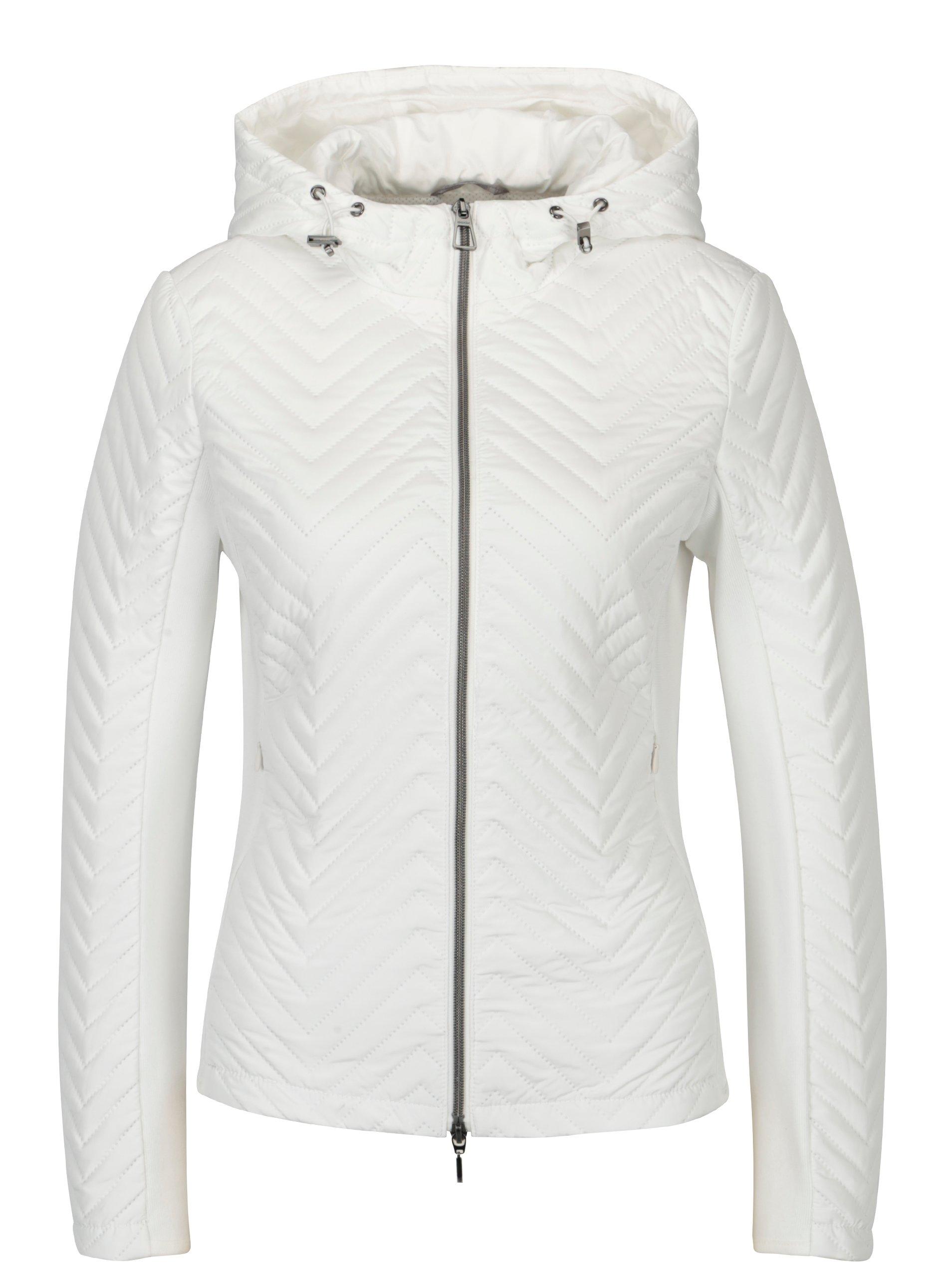 Fotografie Bílá dámská lehká perforovaná bunda s kapucí Geox