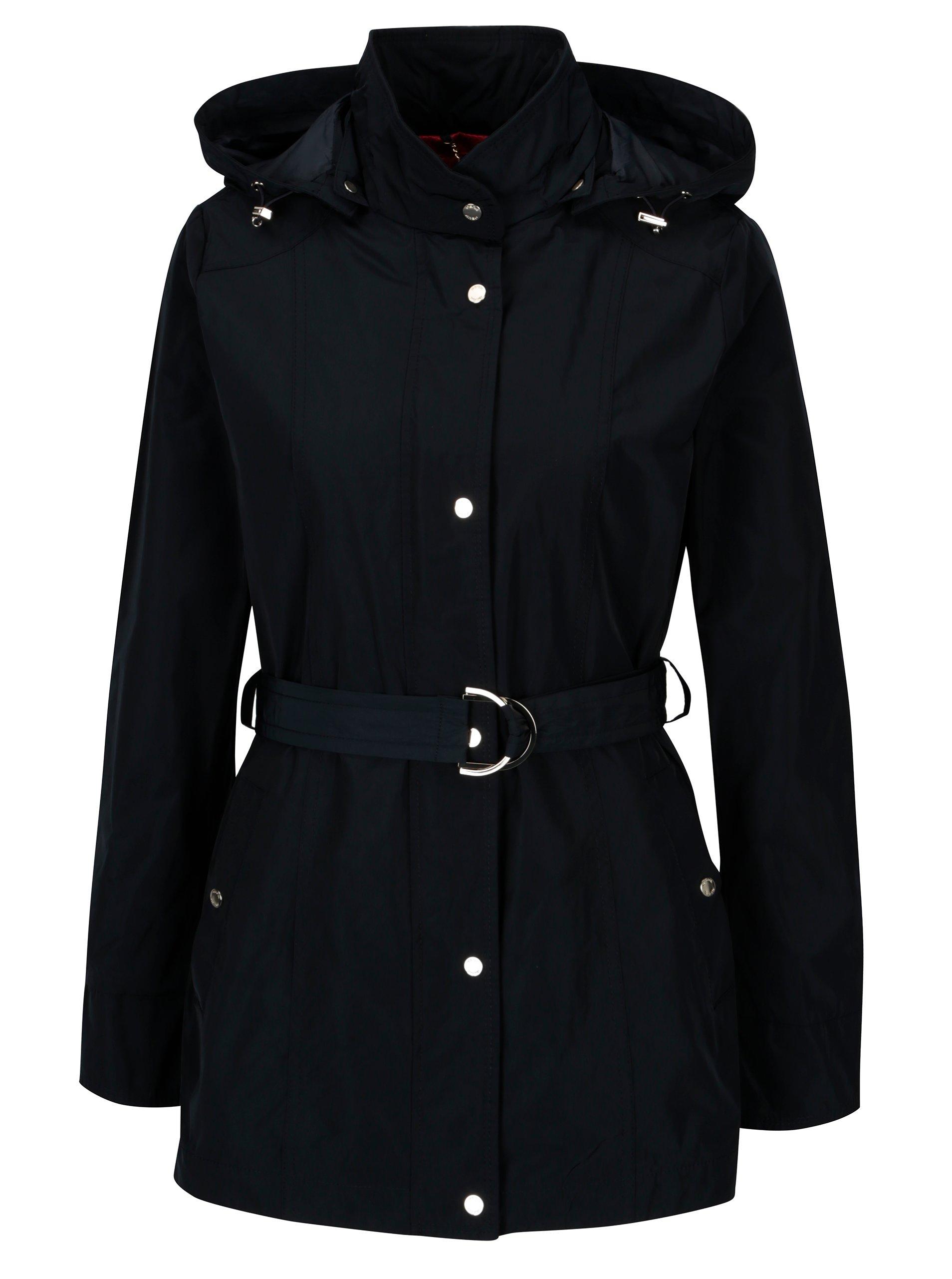 Tmavě modrá dámská bunda s kapucí a páskem Geox