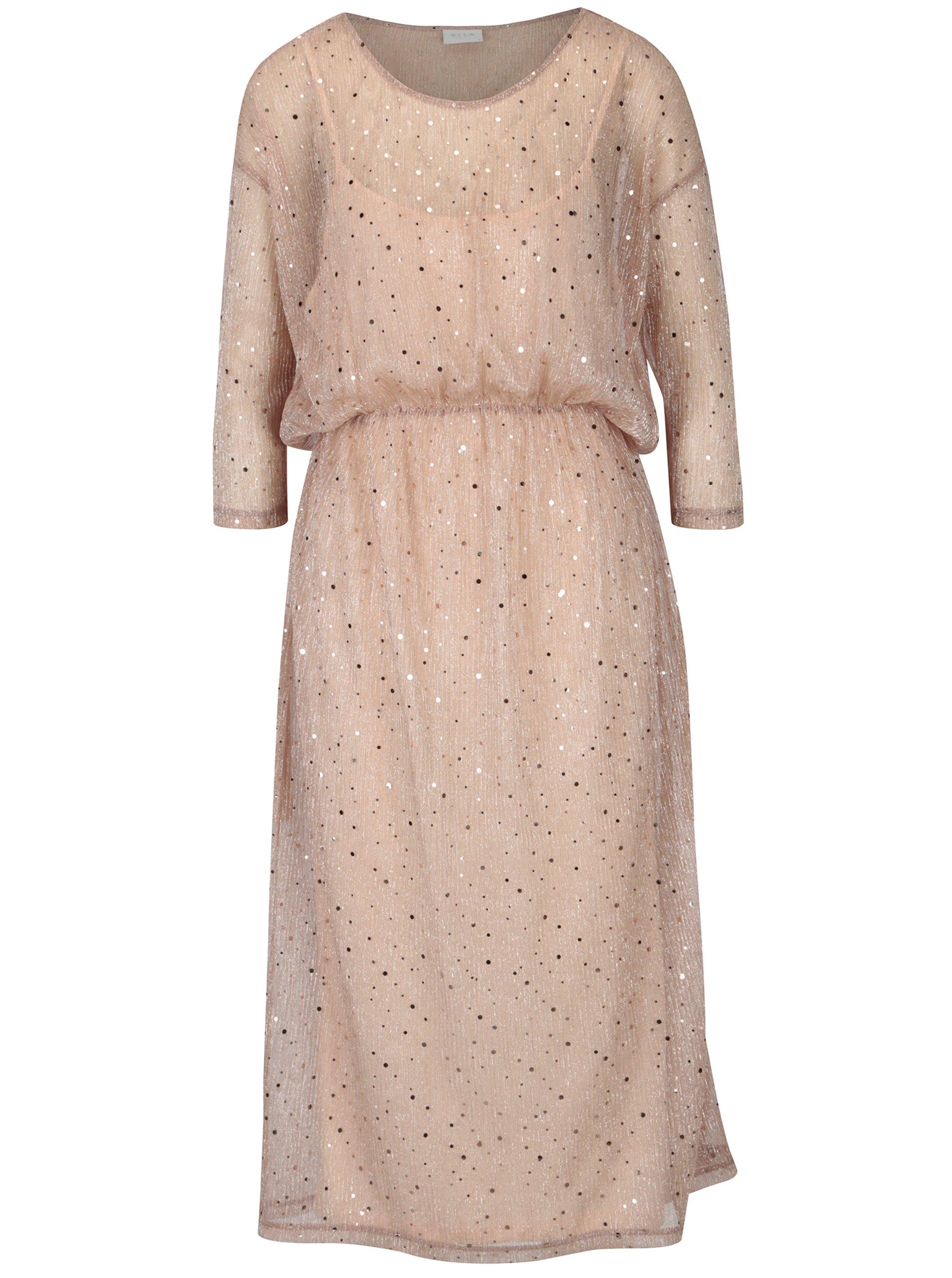 Starorůžové šaty s flitry 2v1 VILA Kyle