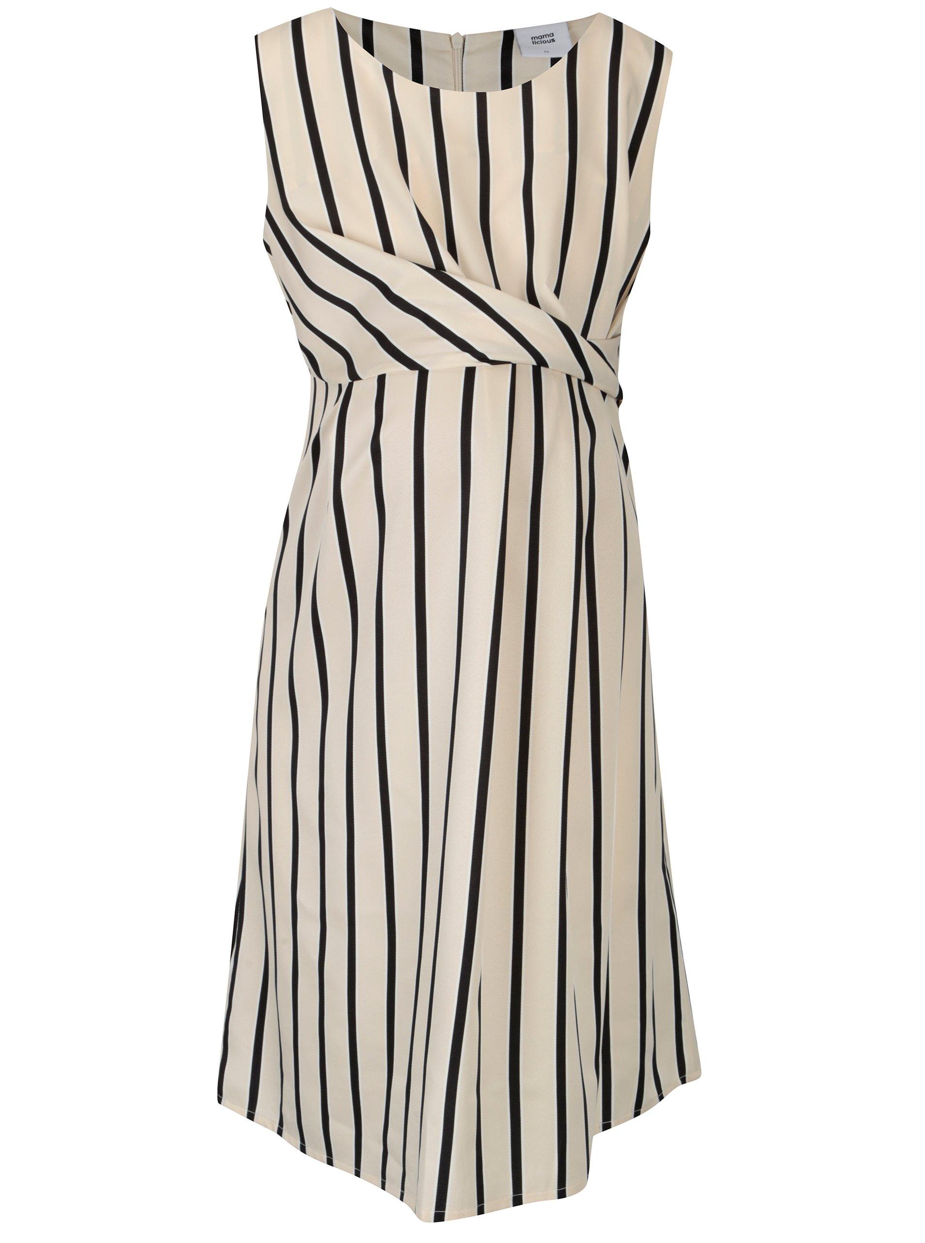 46f5dc05c43f Čierno–béžové pruhované tehotenské šaty Mama.licious Shanne