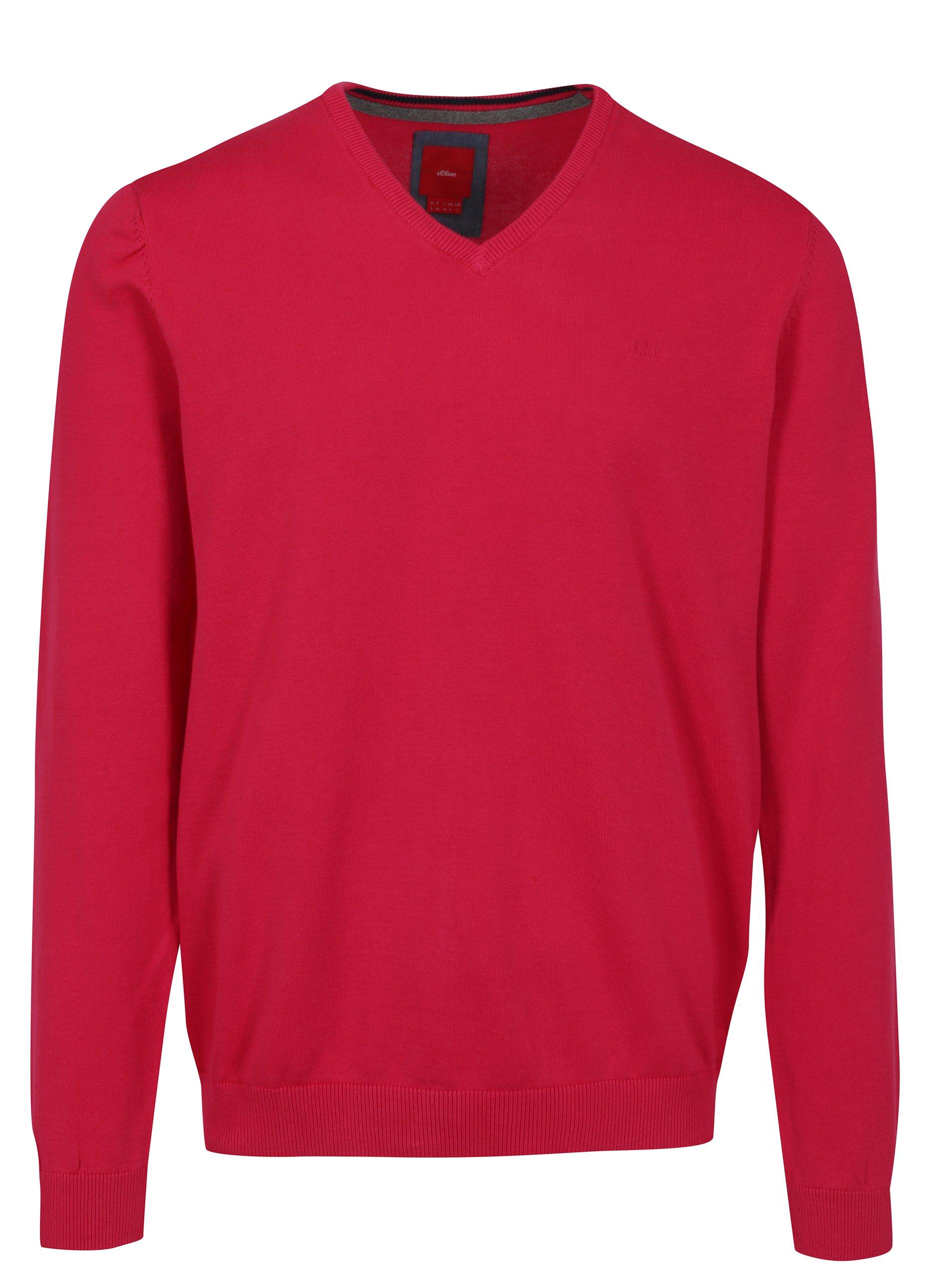 Tmavě růžový pánský lehký svetr s.Oliver