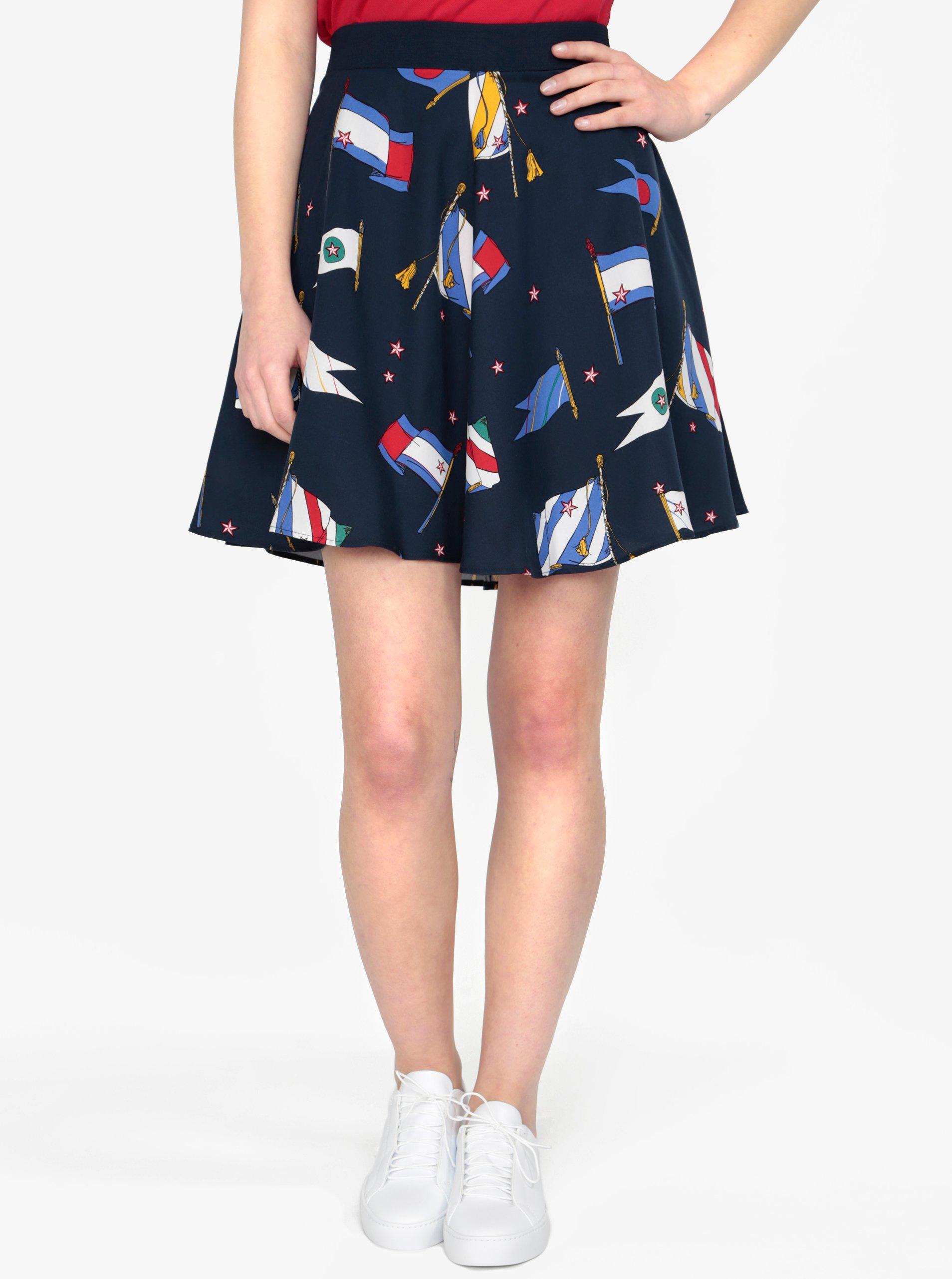 5b841574ee Tmavomodrá vzorovaná sukňa Tommy Hilfiger