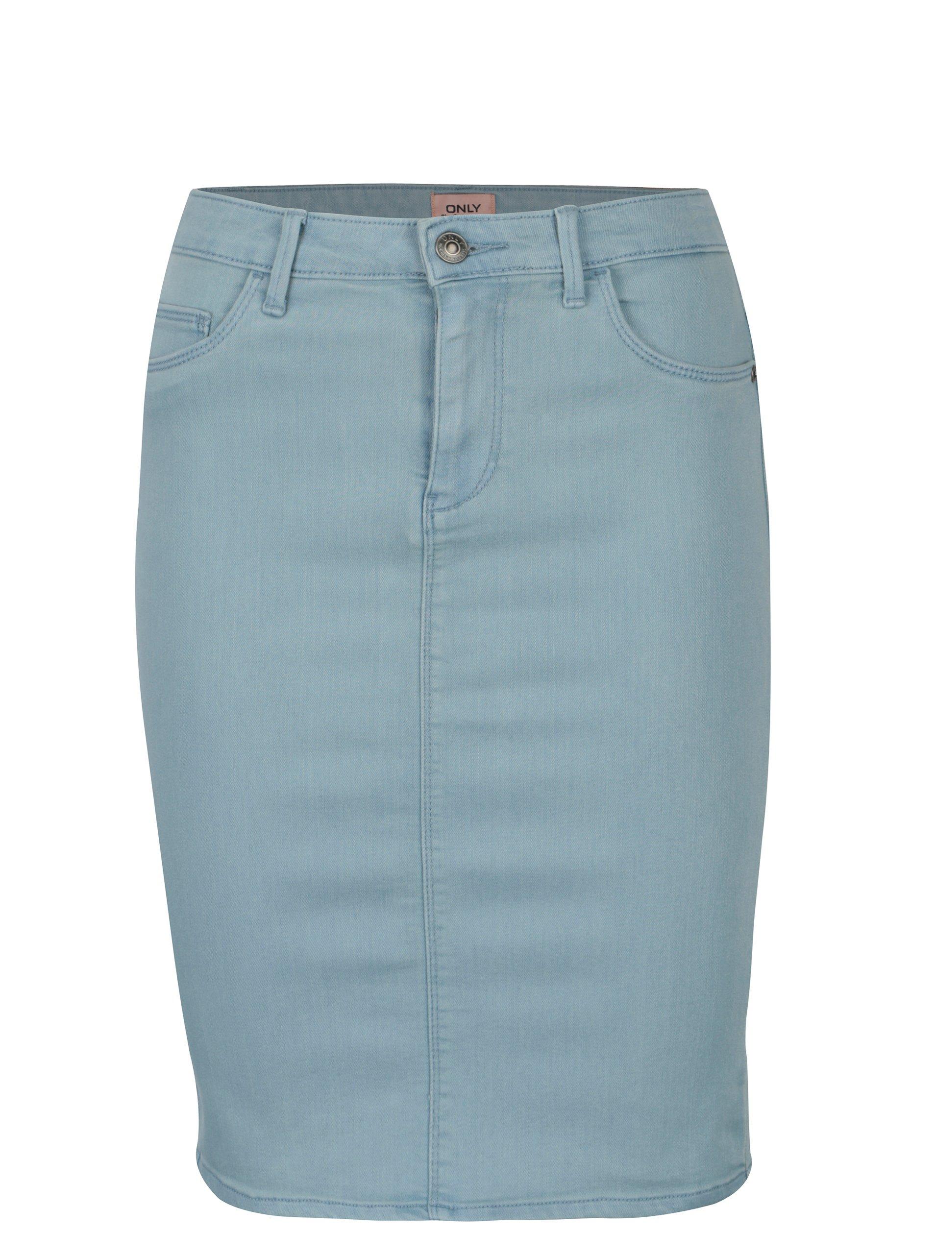 Světle modrá džínová skinny fit sukně ONLY Rain