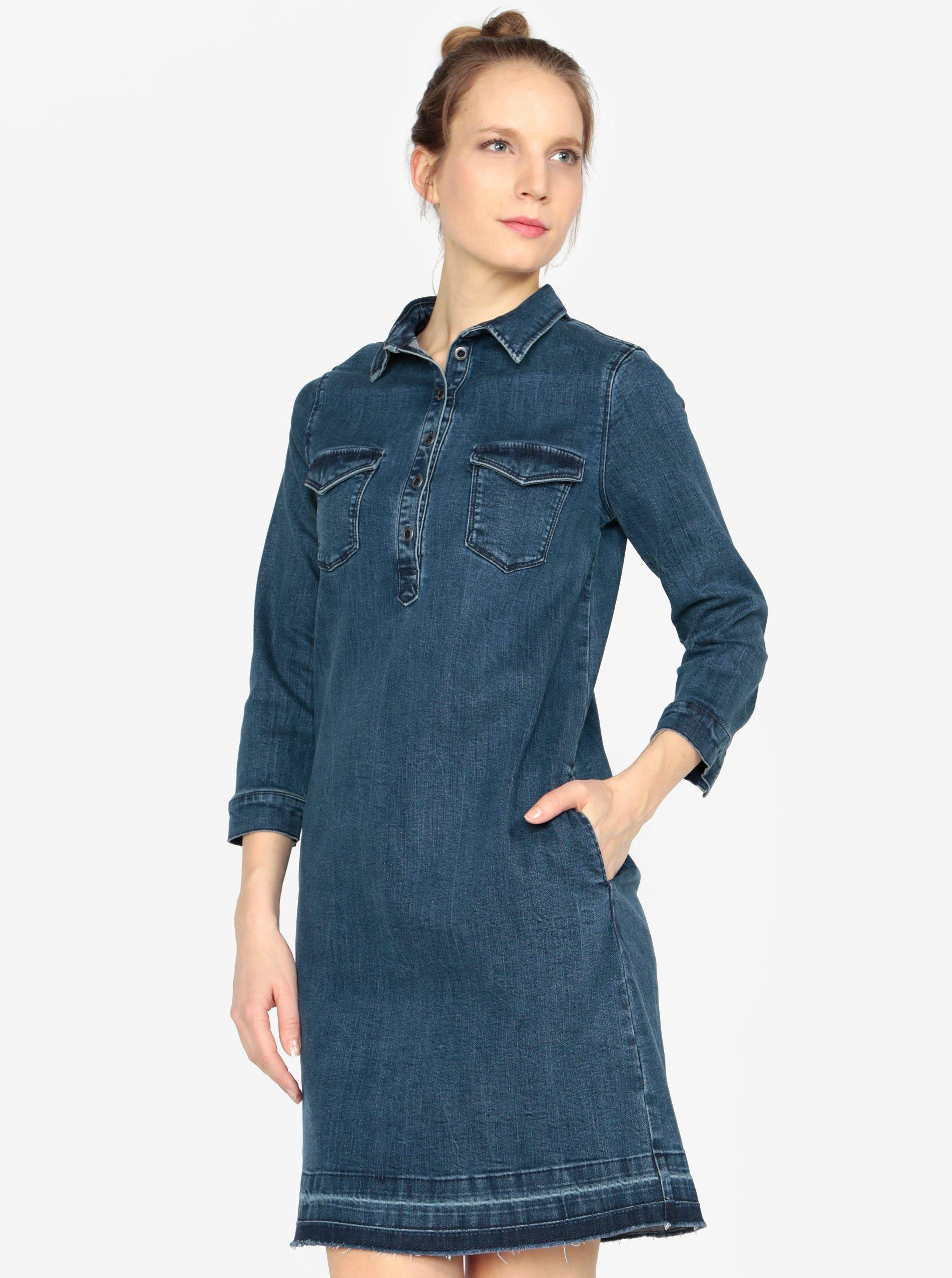 Tmavě modré džínové šaty s 3/4 rukávem s.Oliver