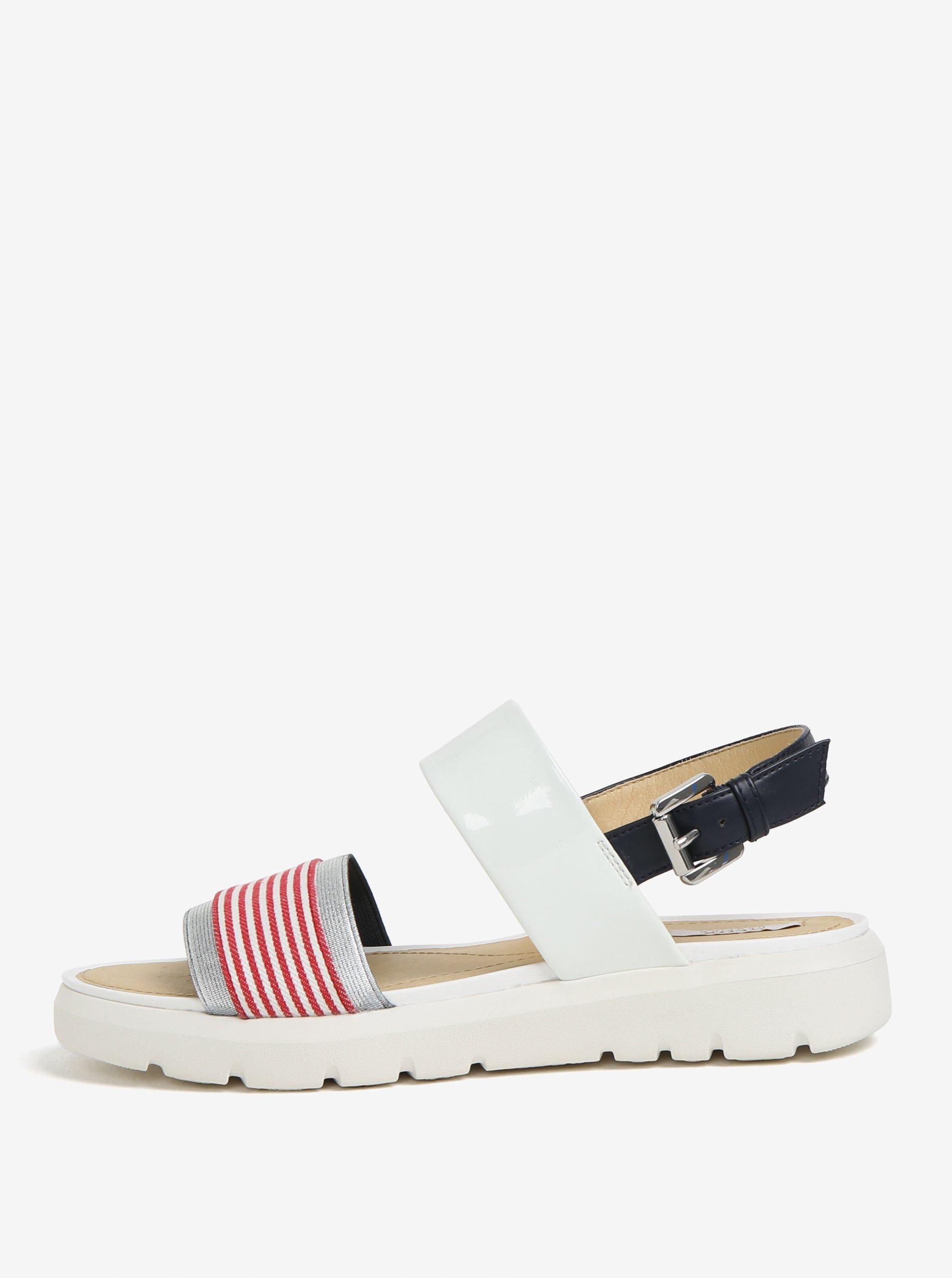 Krémovo-červené pruhované sandály na platformě Geox Amalitha a9ee4a521c