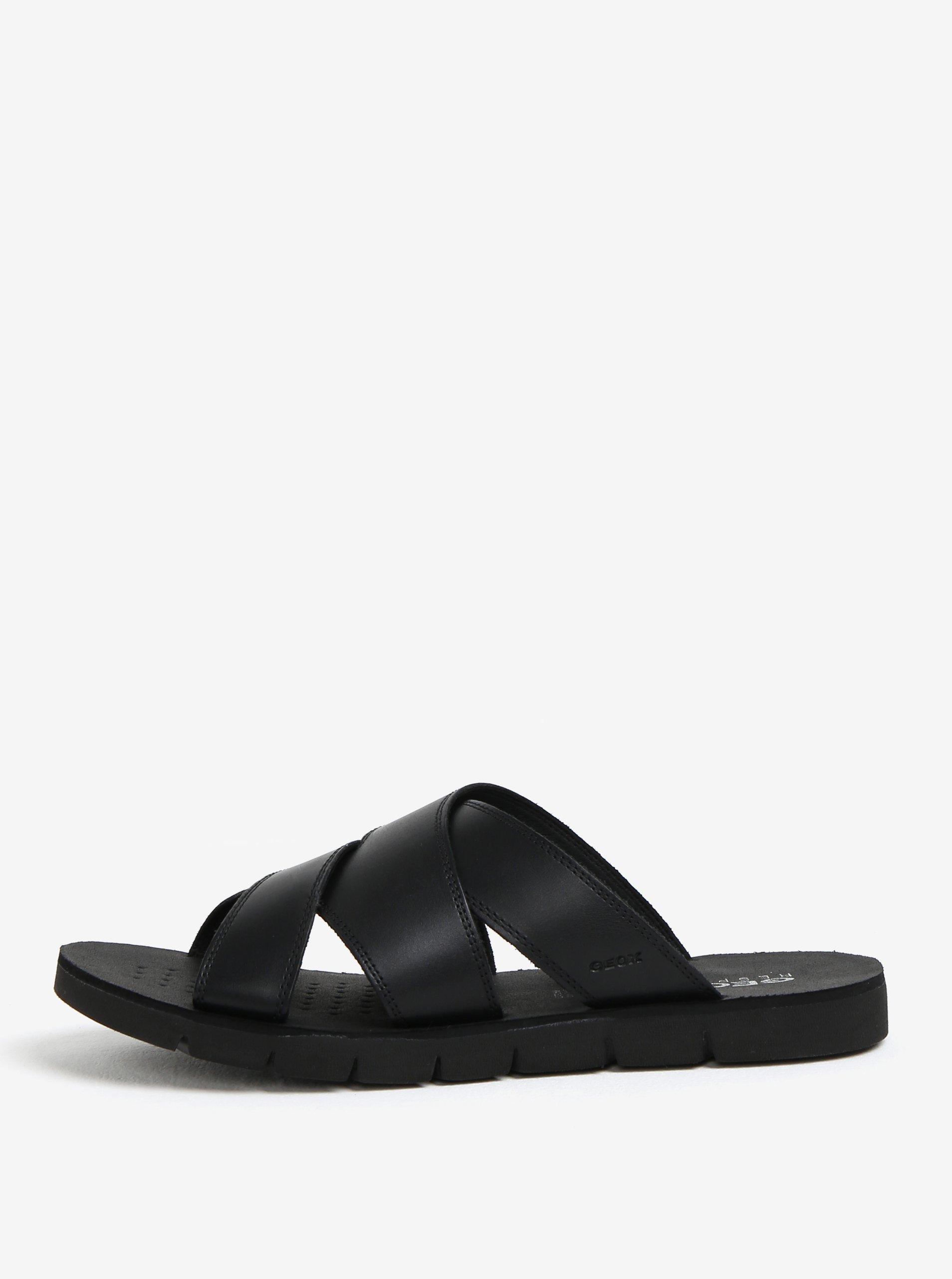 Černé pánské kožené pantofle Geox Glenn