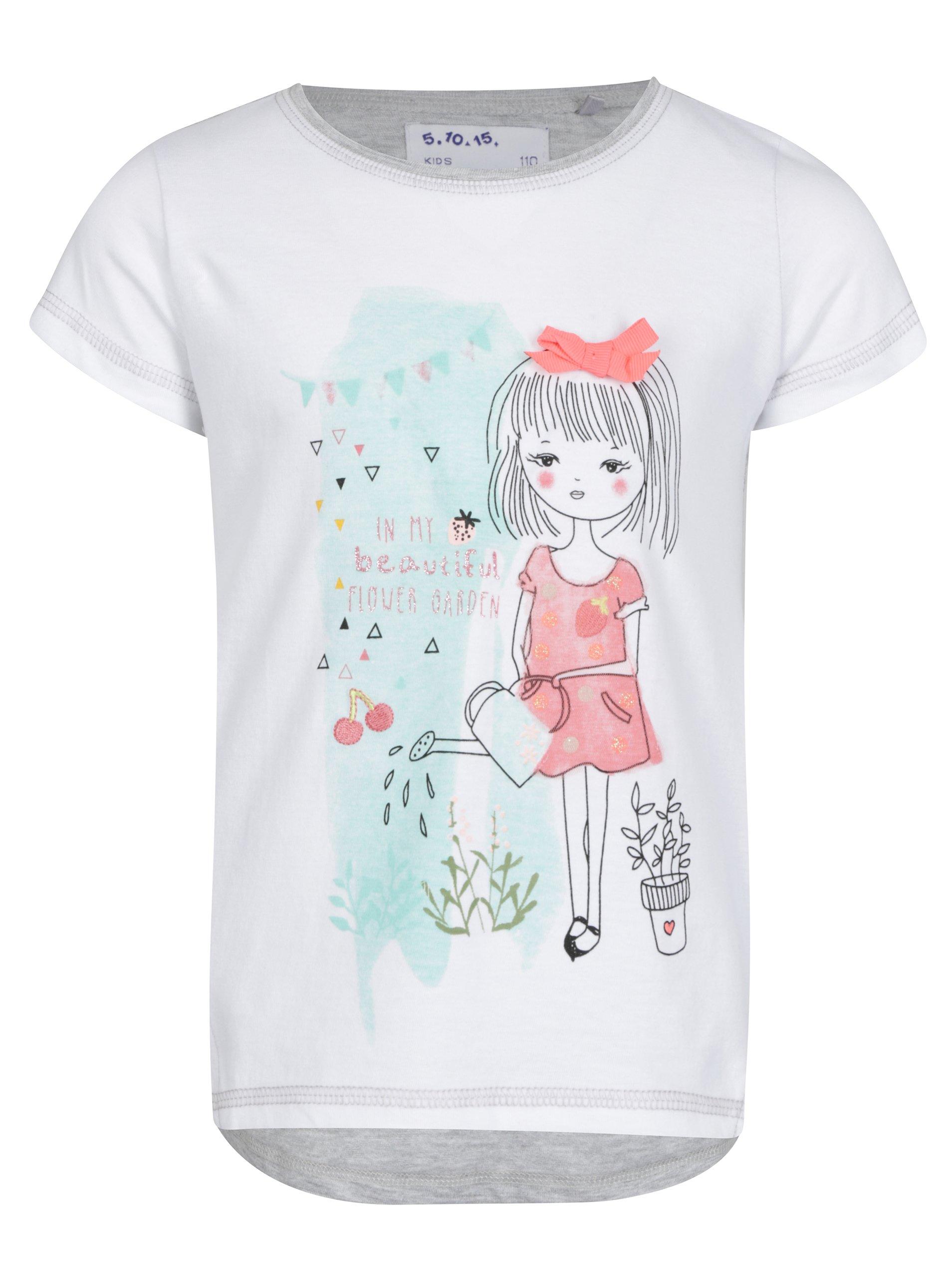 Sivo-krémové dievčenské tričko s potlačou a výšivkou 5.10.15.