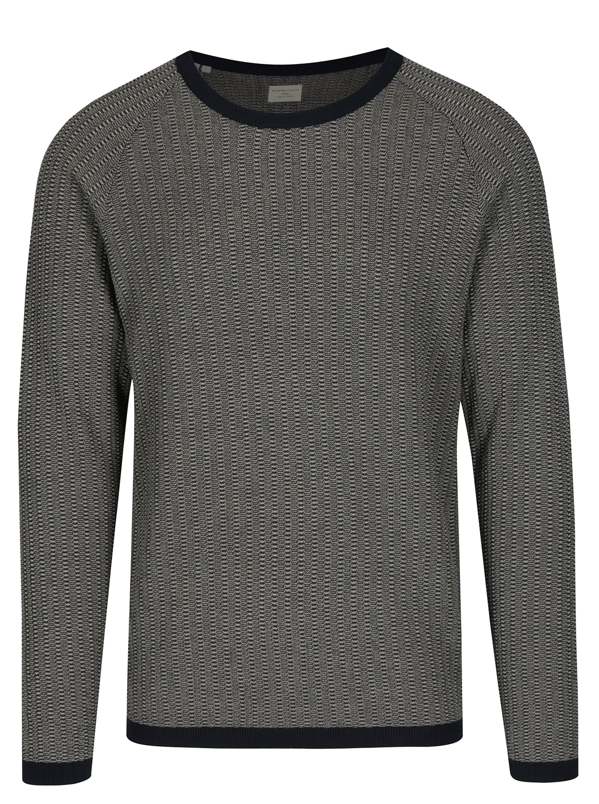 Tmavě modrý svetr s jemným vzorem Selected Homme Lambert