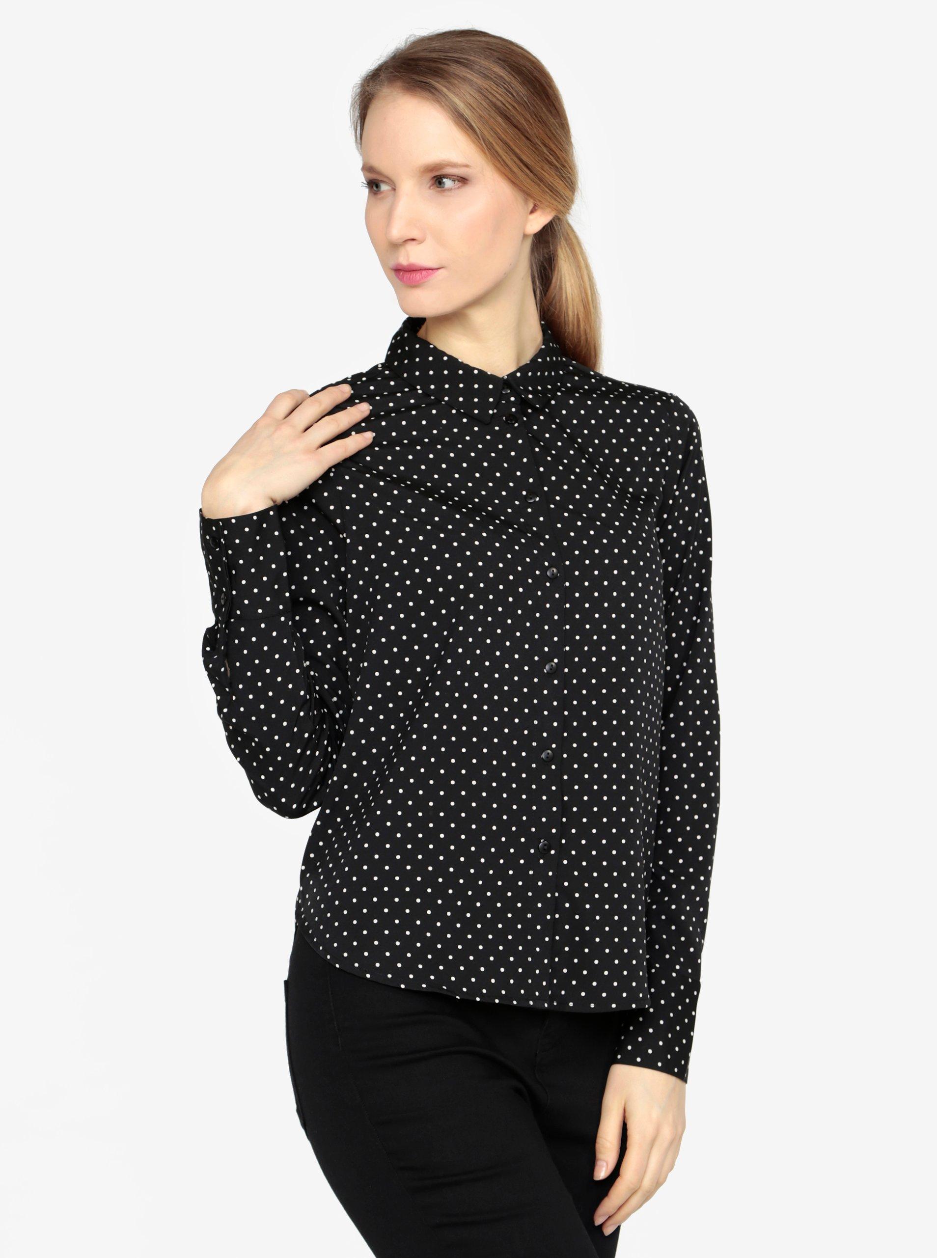 e42886beed Krémovo-čierna vzorovaná košeľa VERO MODA Nicky