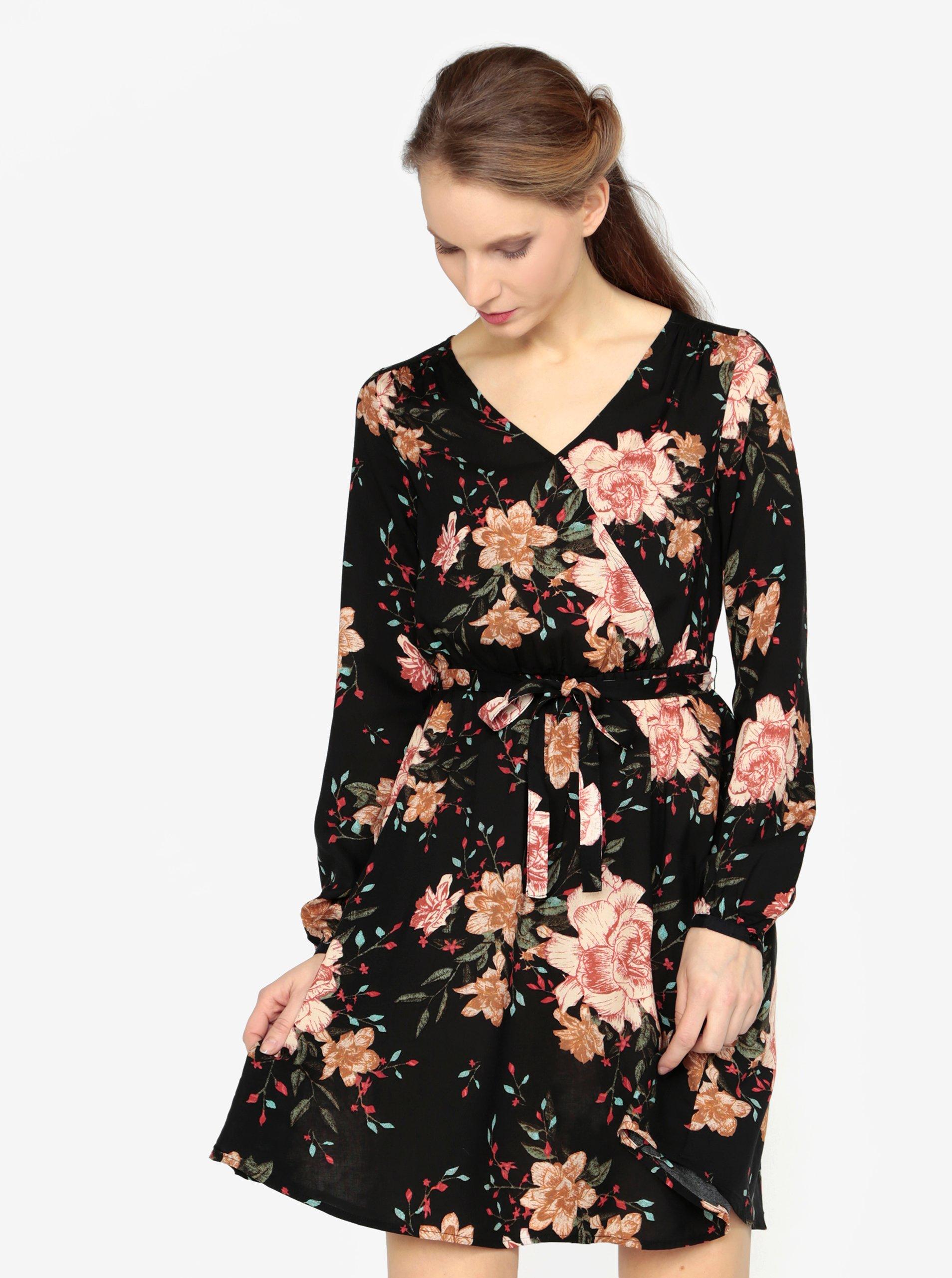 Fotografie Černé vzorované šaty s dlouhým rukávem a páskem VERO MODA Simply