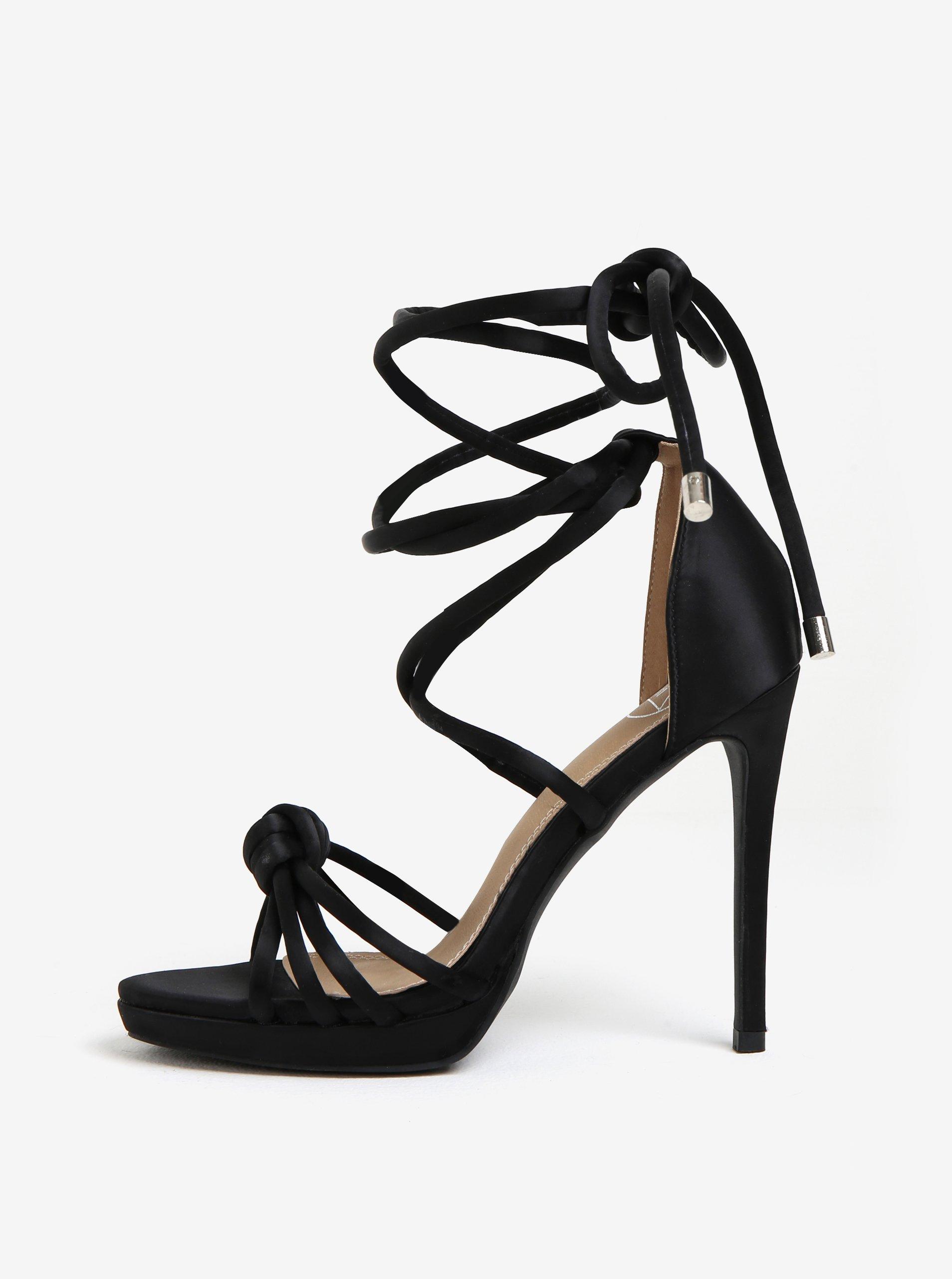 Černé lesklé sandálky MISSGUIDED