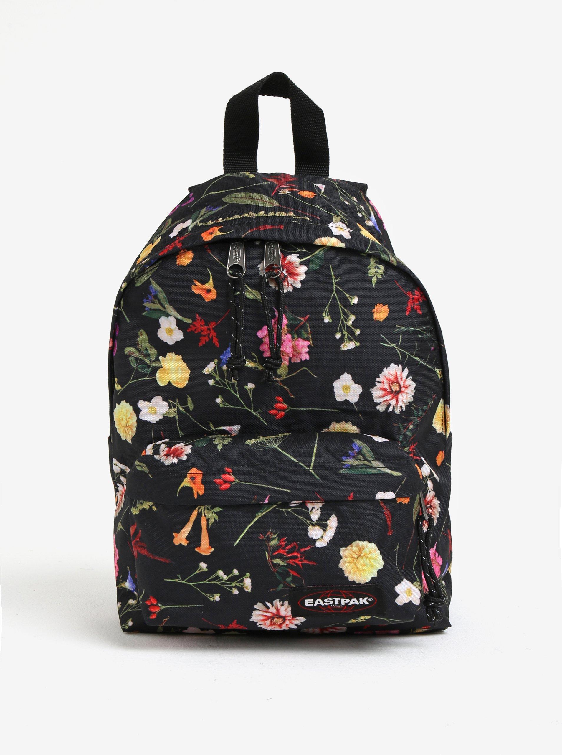 Černý dámský květovaný malý batoh Eastpak Orbit 10 l