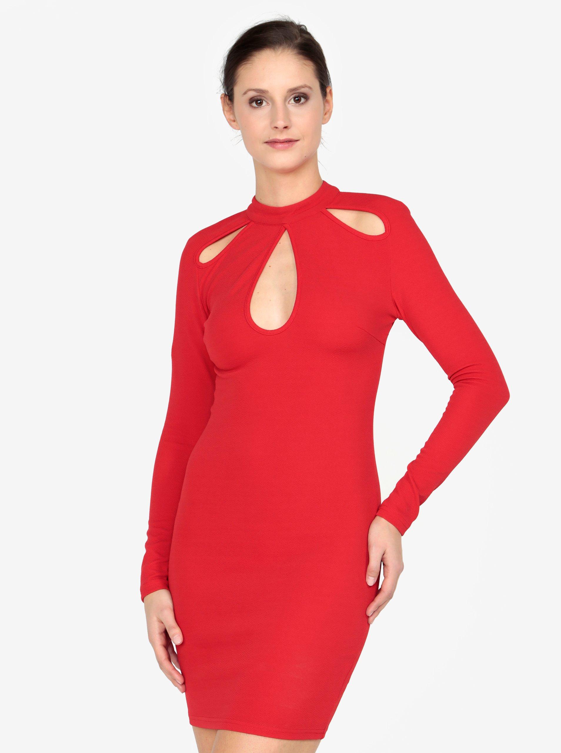 Červené šaty s průstřihy AX Paris