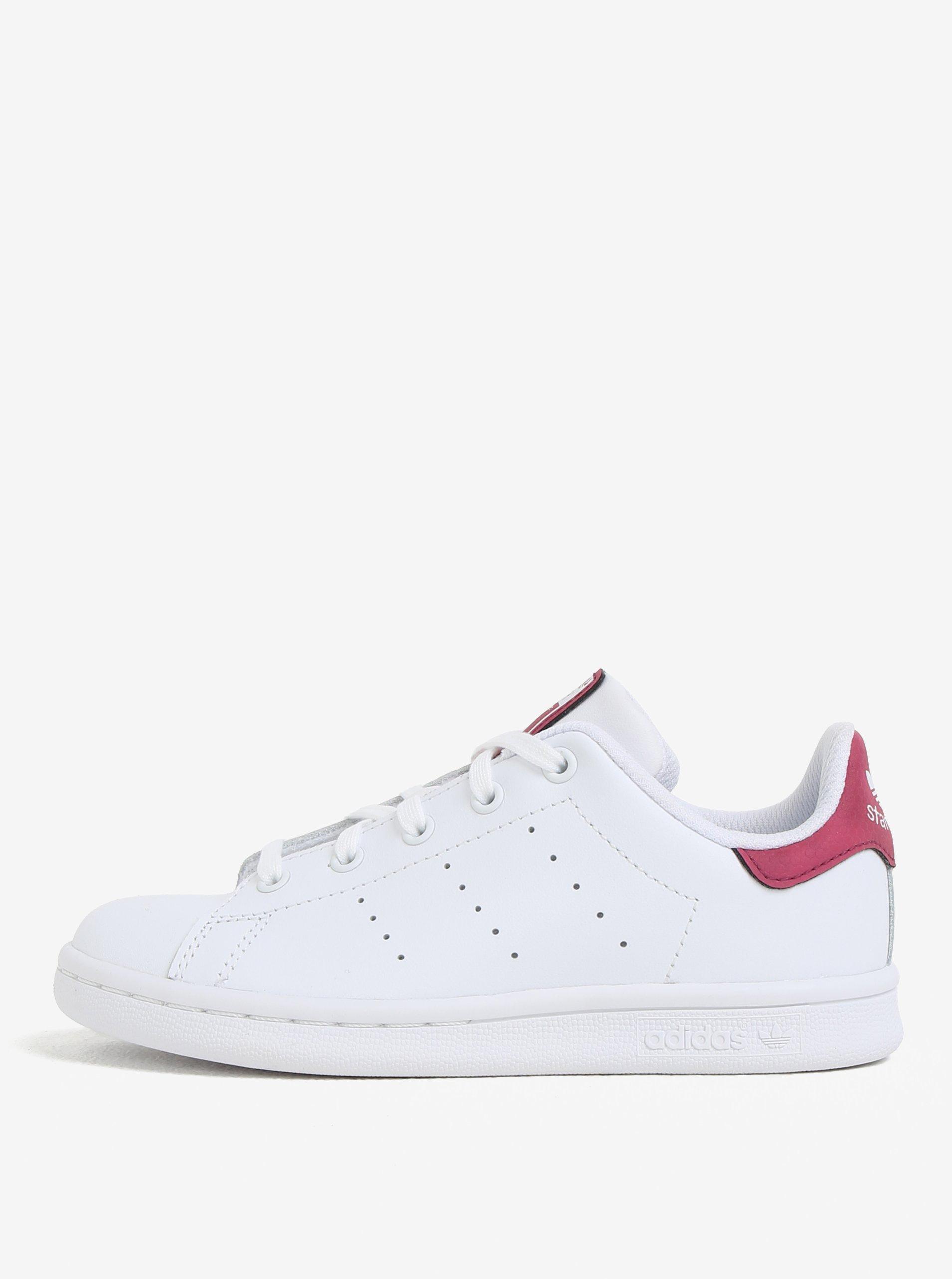 Ružovo-biele detské kožené tenisky adidas Originals Stan Smith C