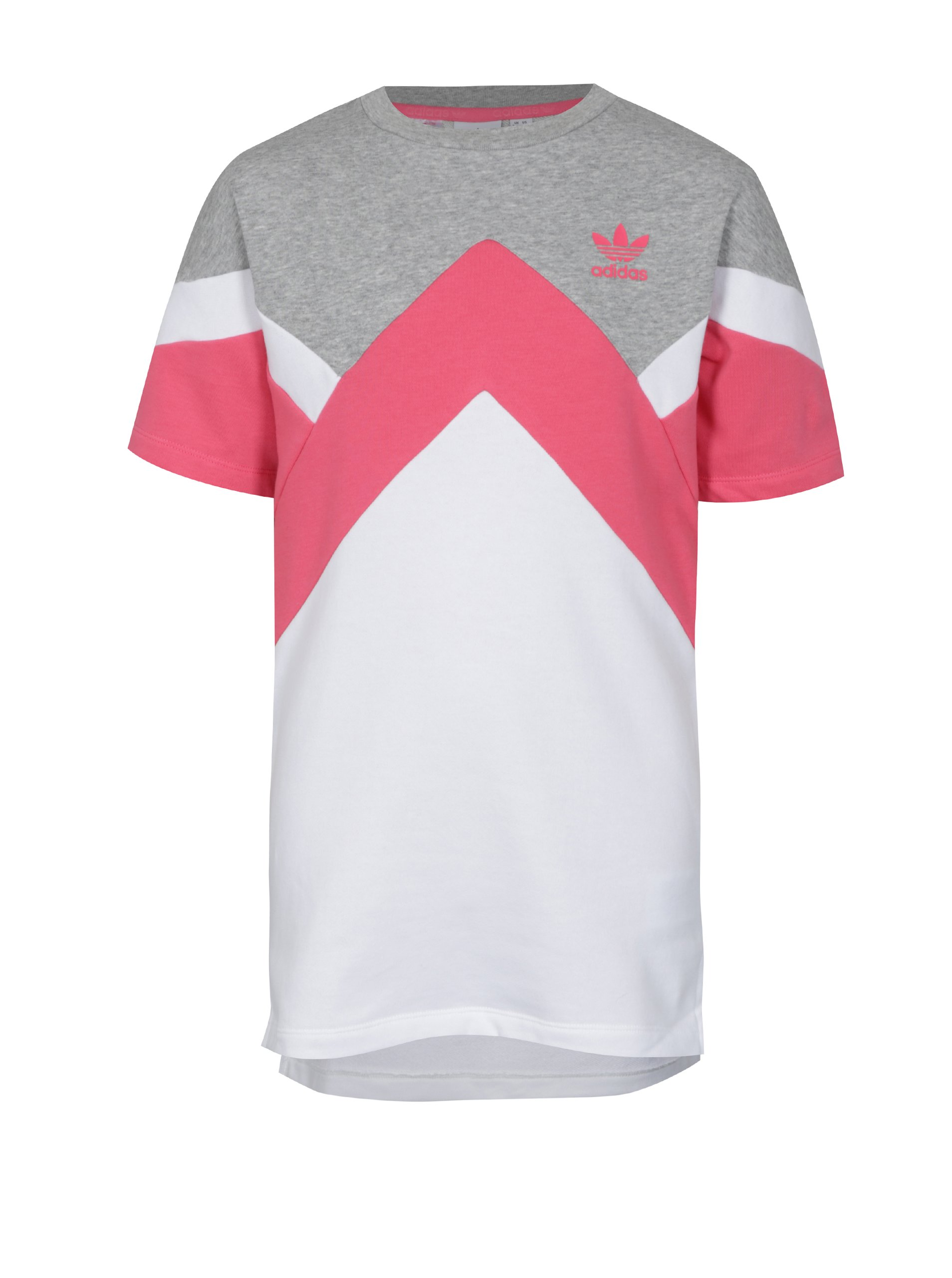 Bielo-ružové dievčenské mikinové šaty adidas Originals J M Ft Hoodie