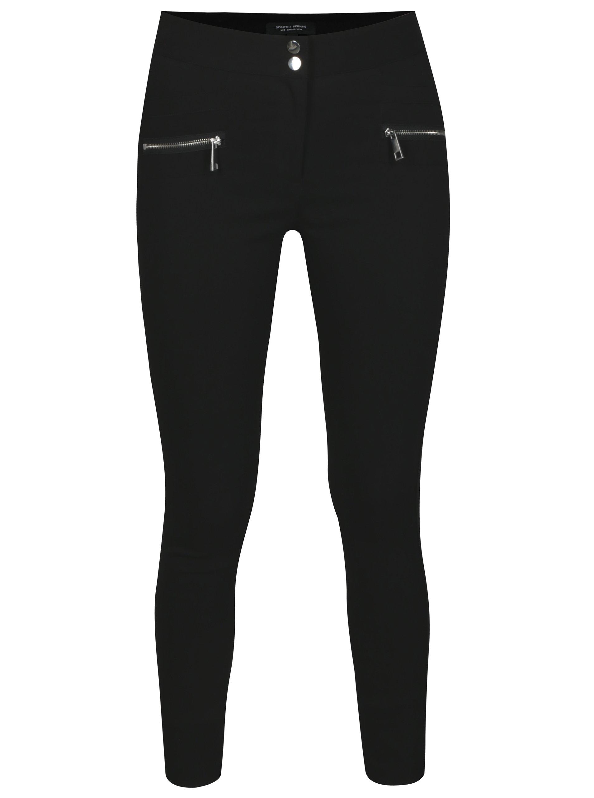 Černé zkrácené skinny kalhoty se zipy Dorothy Perkins