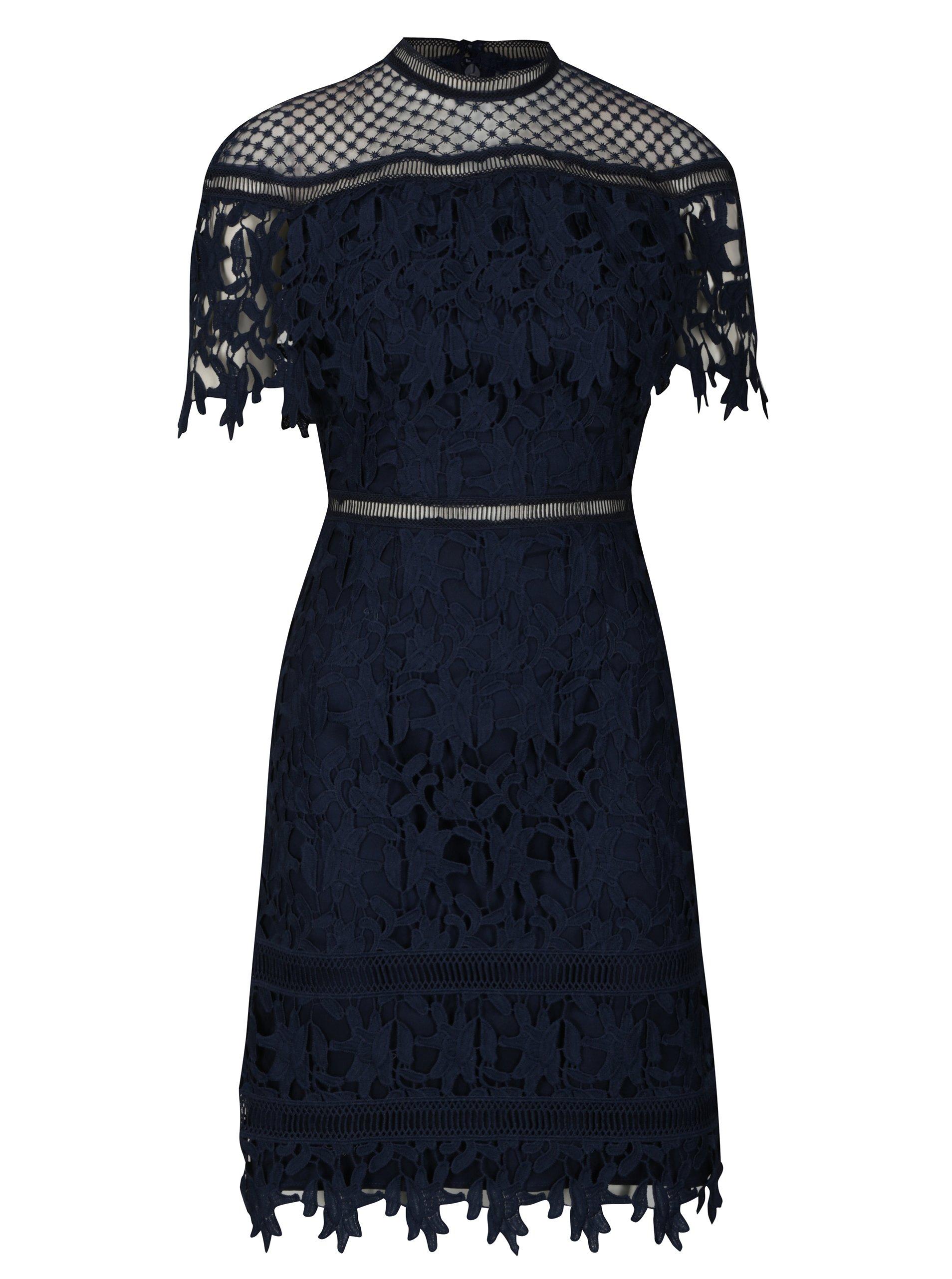 21098d3f77b9 Tmavomodré čipkované šaty Chi Chi London Sassi