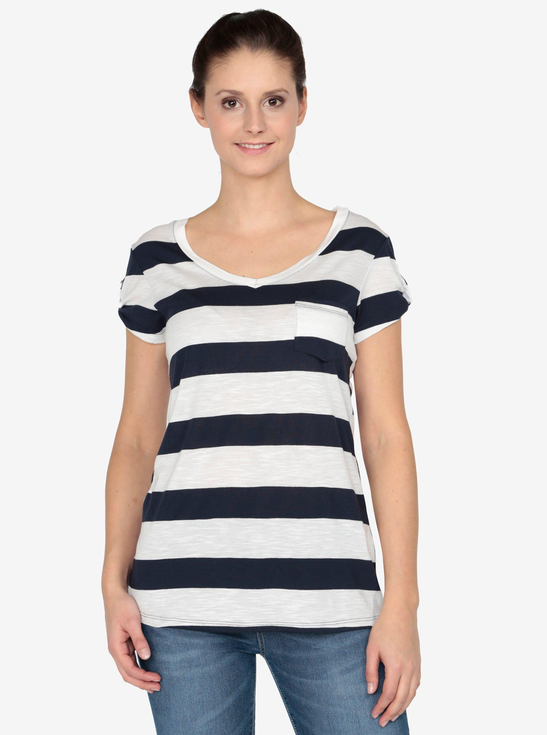 55db70c31f8c Krémovo-modré tričko s krátkym rukávom Haily´s Helen