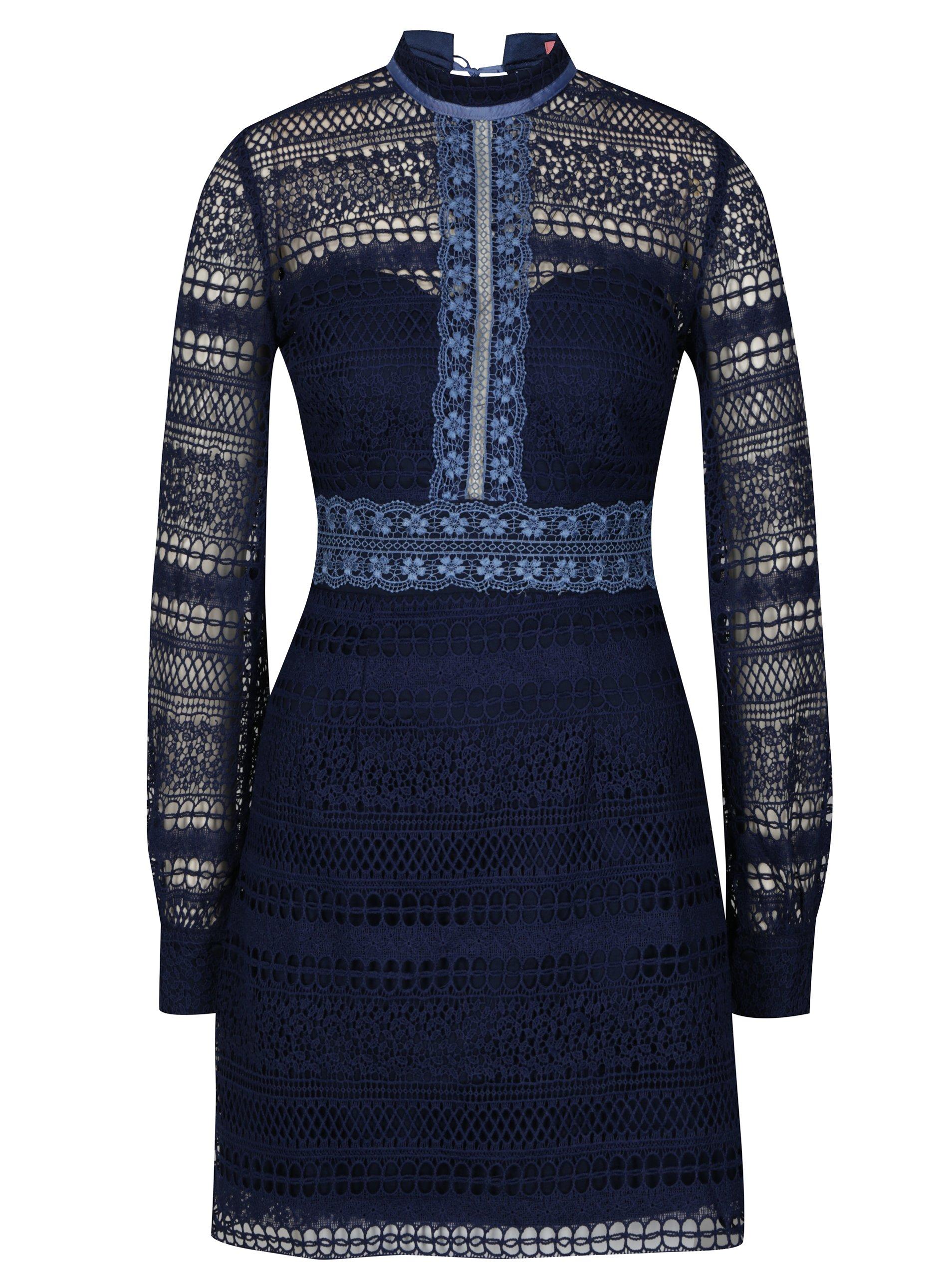 e082e6bac774 Tmavomodré čipkované šaty Chi Chi London Zosia