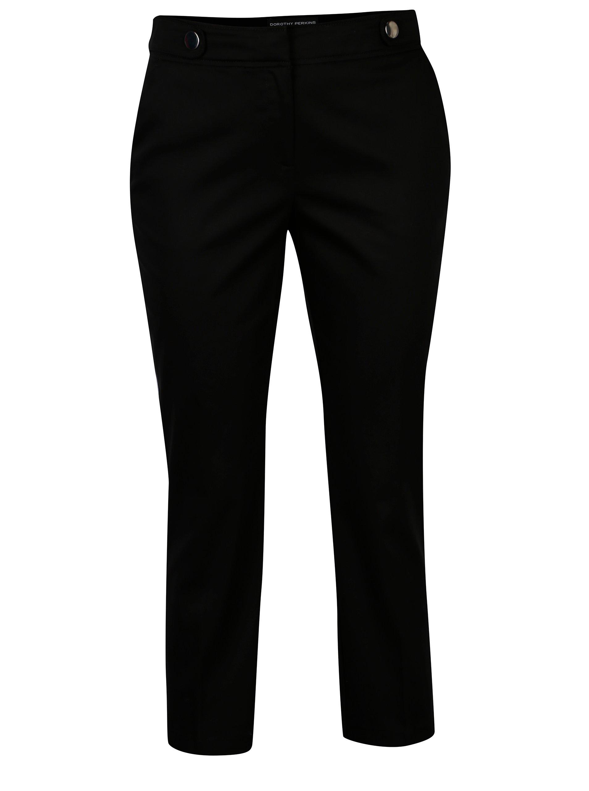 Černé zkrácené kalhoty s ozdobnými knoflíky Dorothy Perkins b598b5480d3