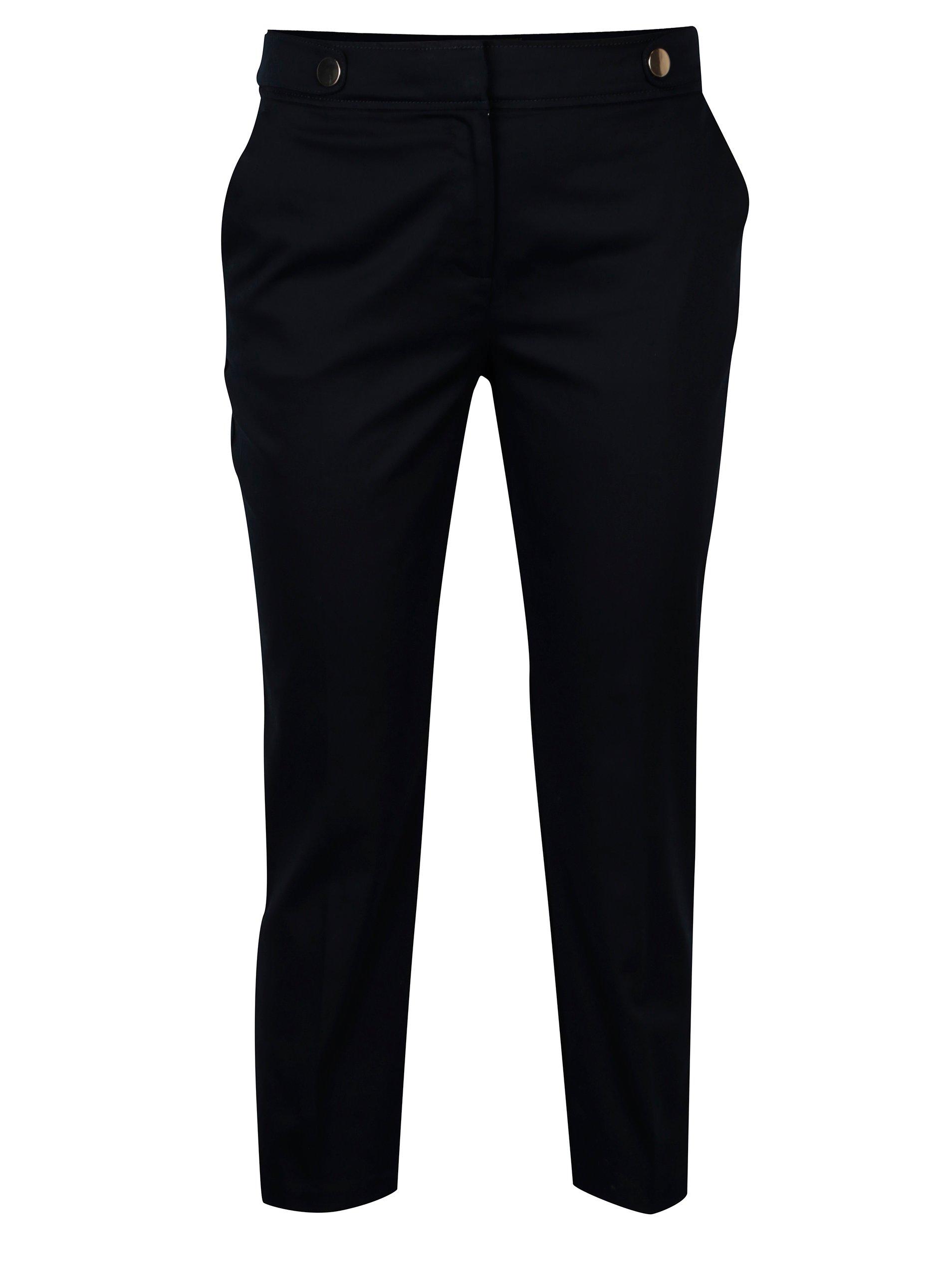 Tmavě modré zkrácené kalhoty s ozdobnými knoflíky Dorothy Perkins