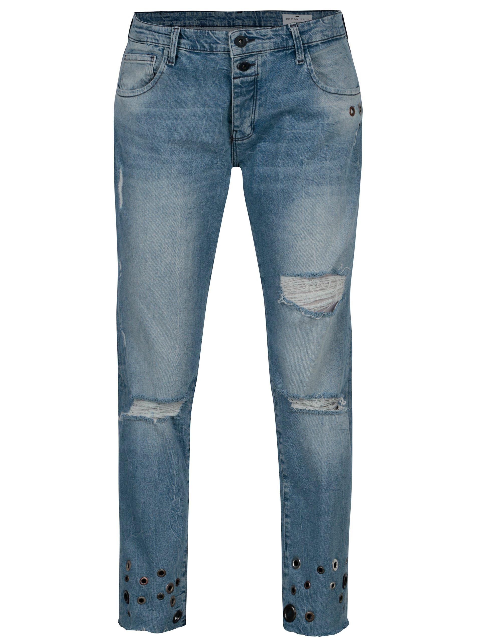 Modré dámské boyfriend džíny Cross Jeans