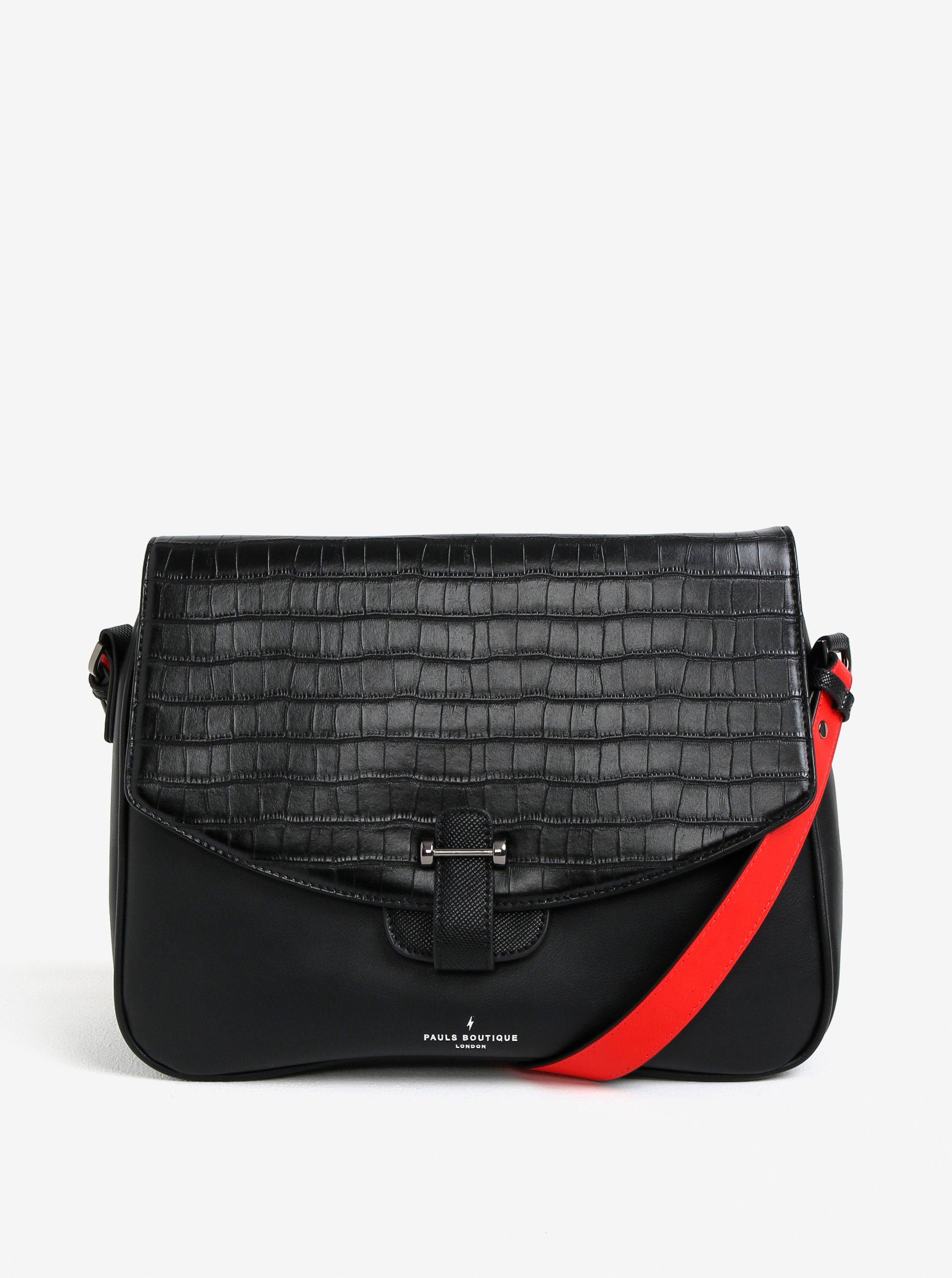 Černá kabelka přes rameno s ozdobnou klopou Paul´s Boutique Gillian