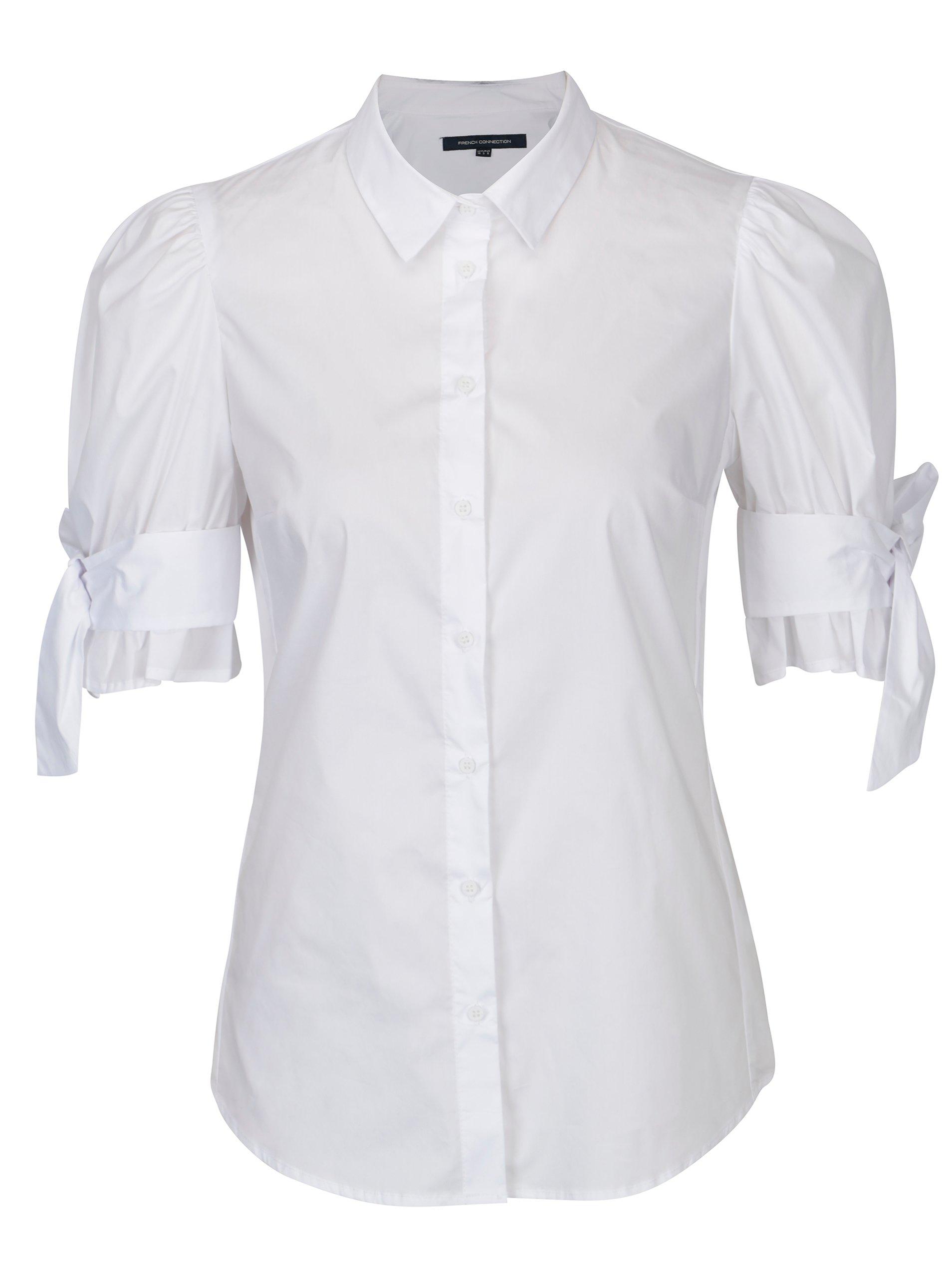 Bílá košile s mašlí na rukávech French Connection Eastside 9a038a21e8