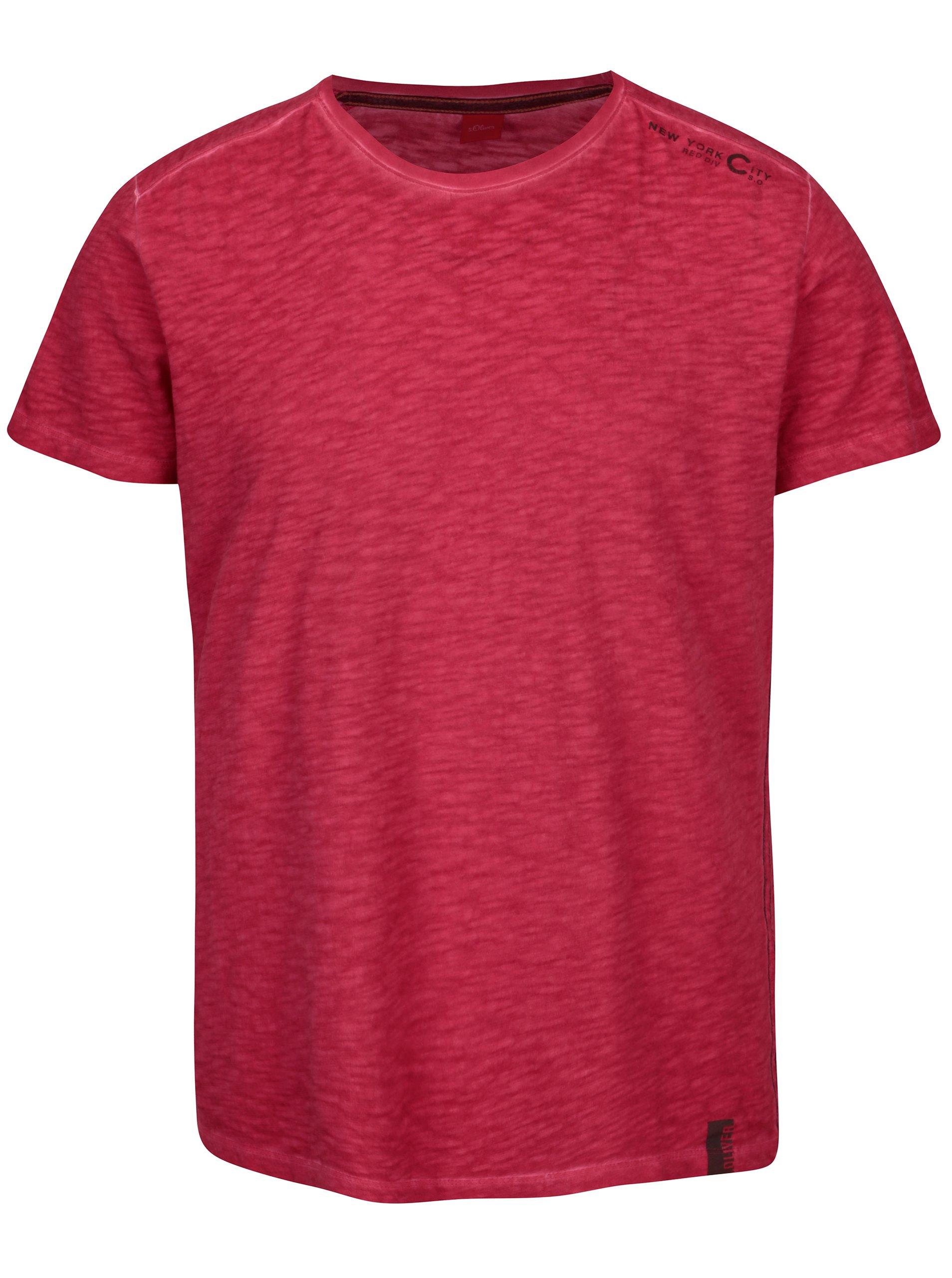 Růžové pánské žíhané tričko s.Oliver