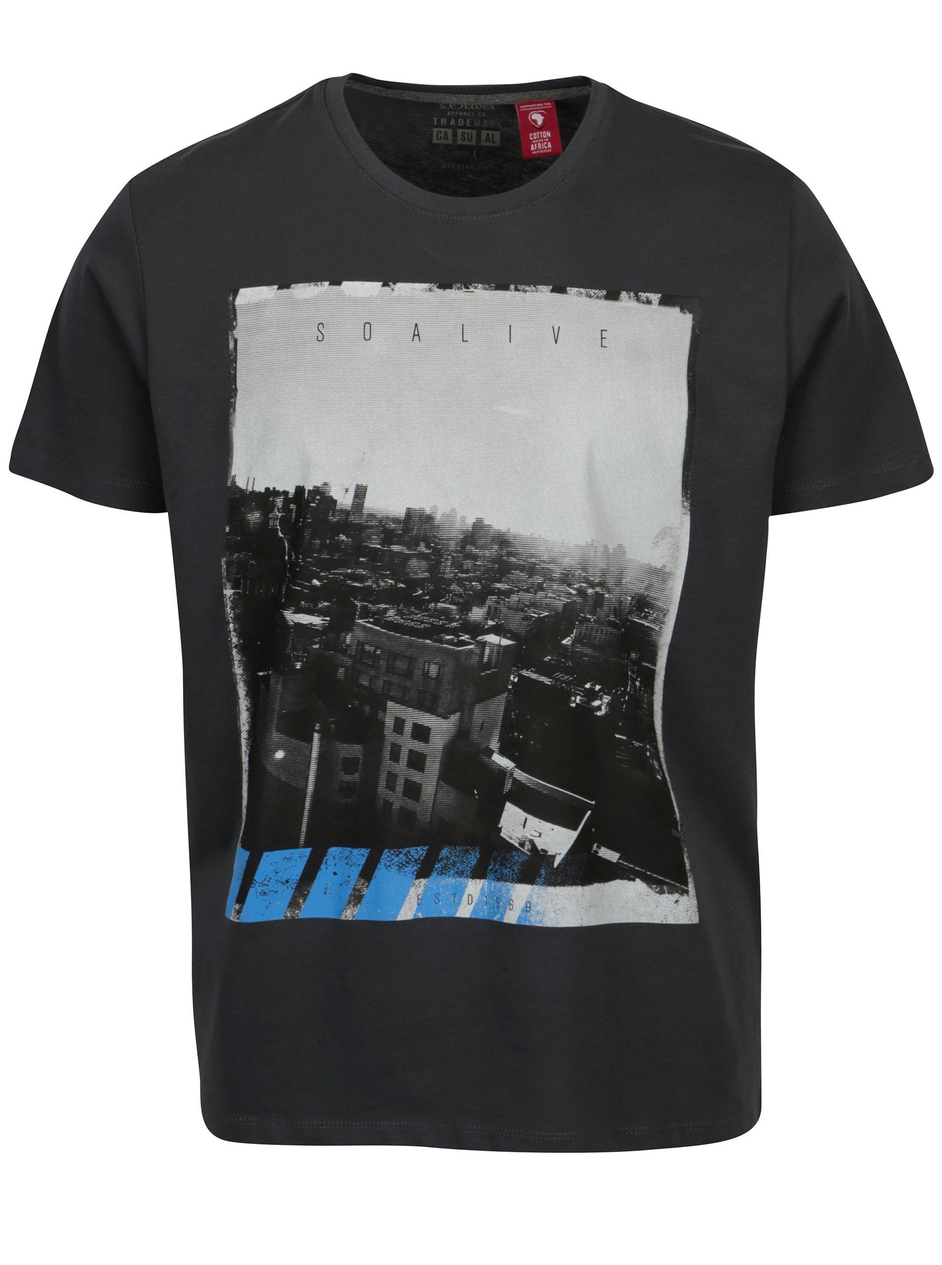 Tmavě šedé regular fit pánské tričko s potiskem s.Oliver