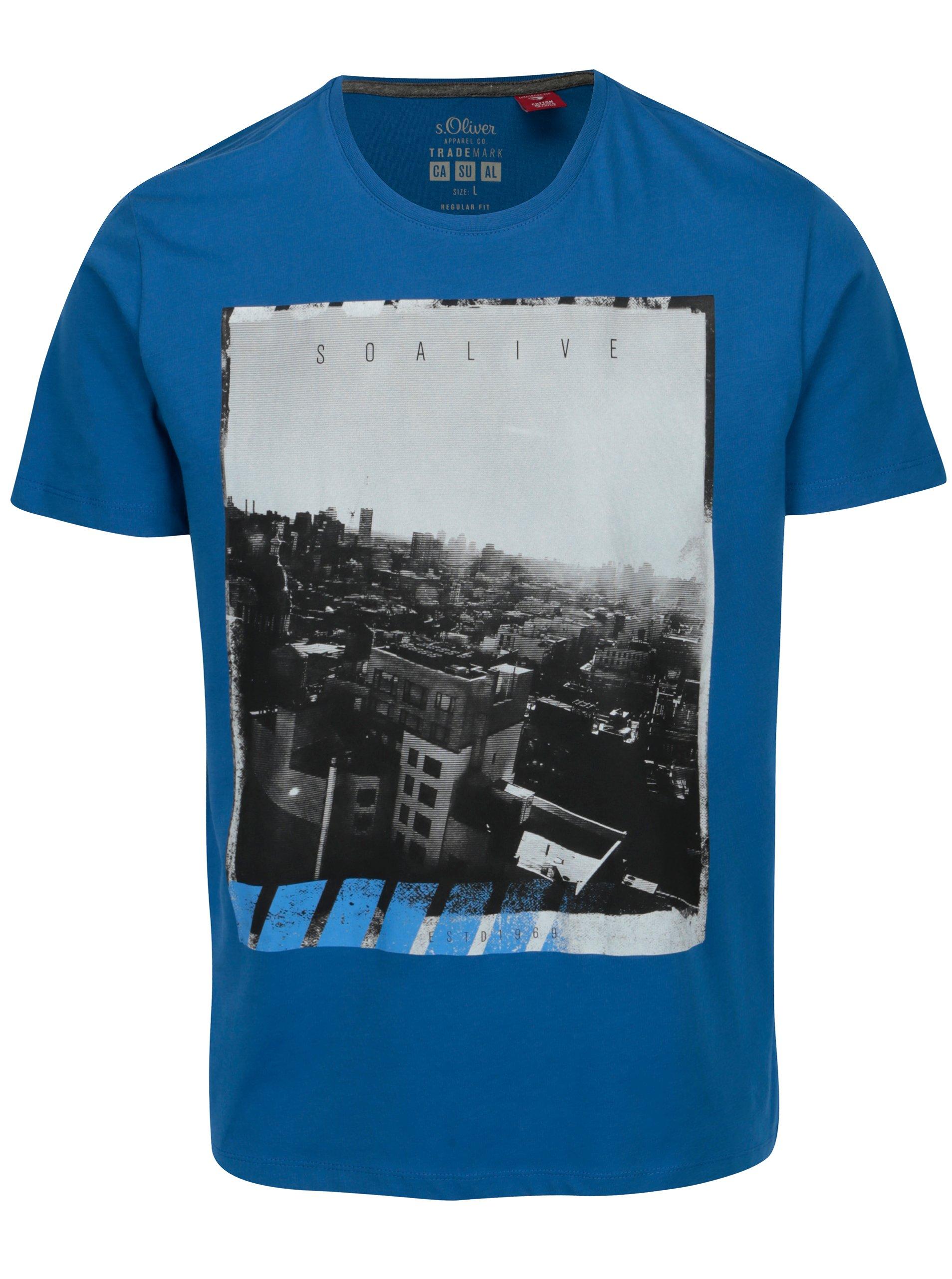 e90c90f3ac0 Modré pánské regular fit tričko s potiskem s.Oliver