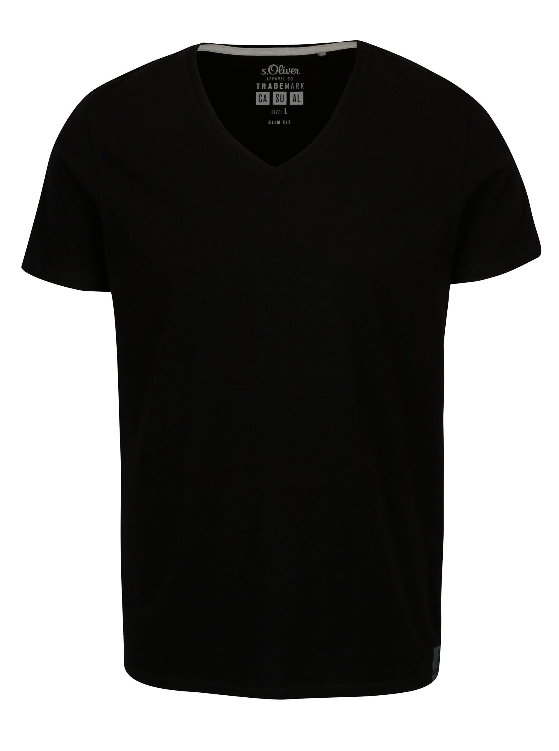 Černé pánské tričko s véčkovým výstřihem s.Oliver