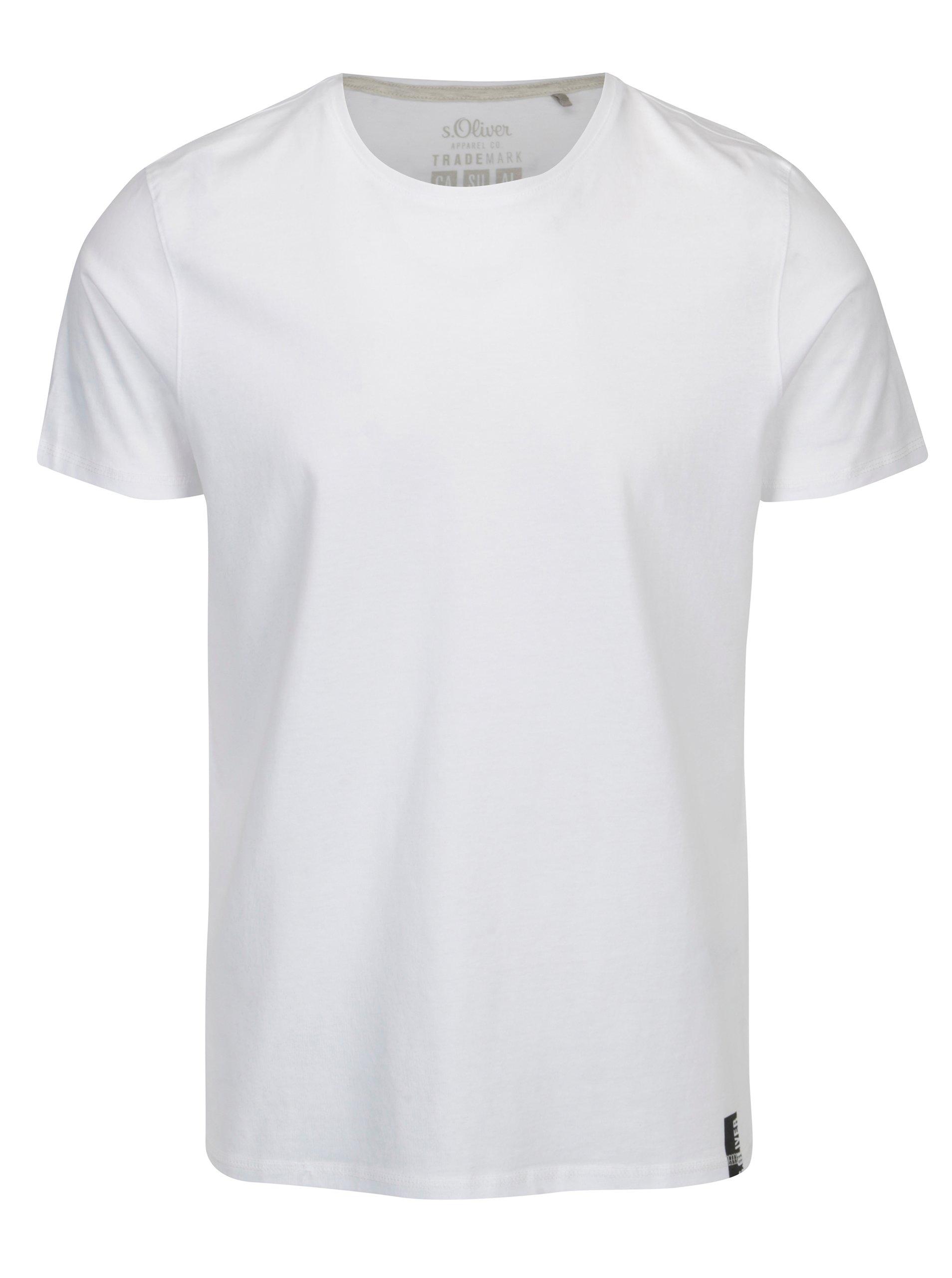 Bílé pánské regular fit tričko s kulatým výstřihem s.Oliver