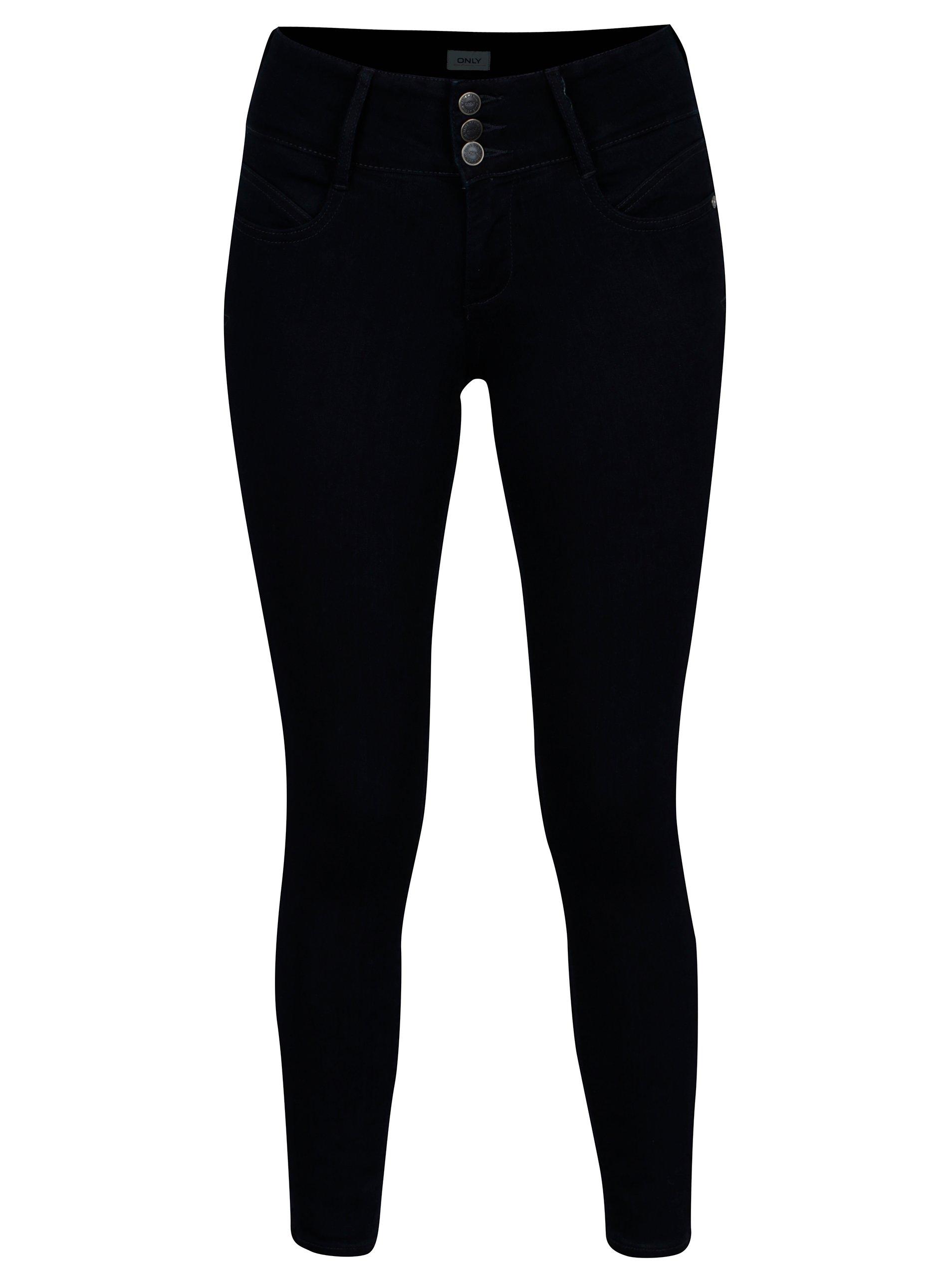 Tmavě modré zkrácené skinny džíny ONLY Anna