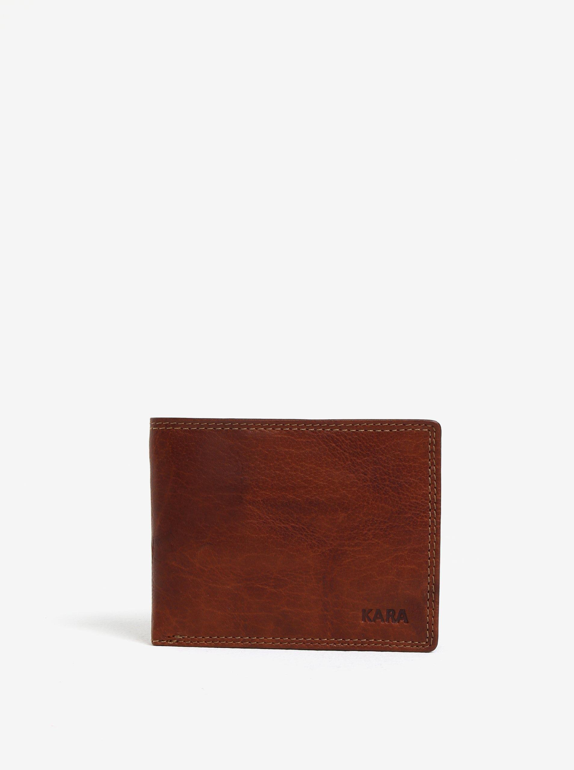 Fotografie Hnědá pánská kožená peněženka s gravírovaným logem KARA