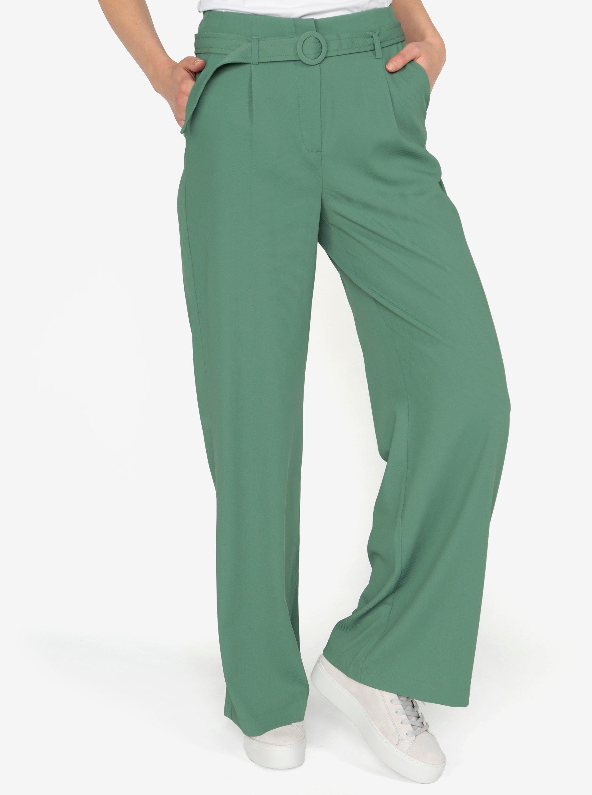 ce492a60b8b Zelené volné kalhoty s vysokým pasem a páskem VERO MODA Emmy