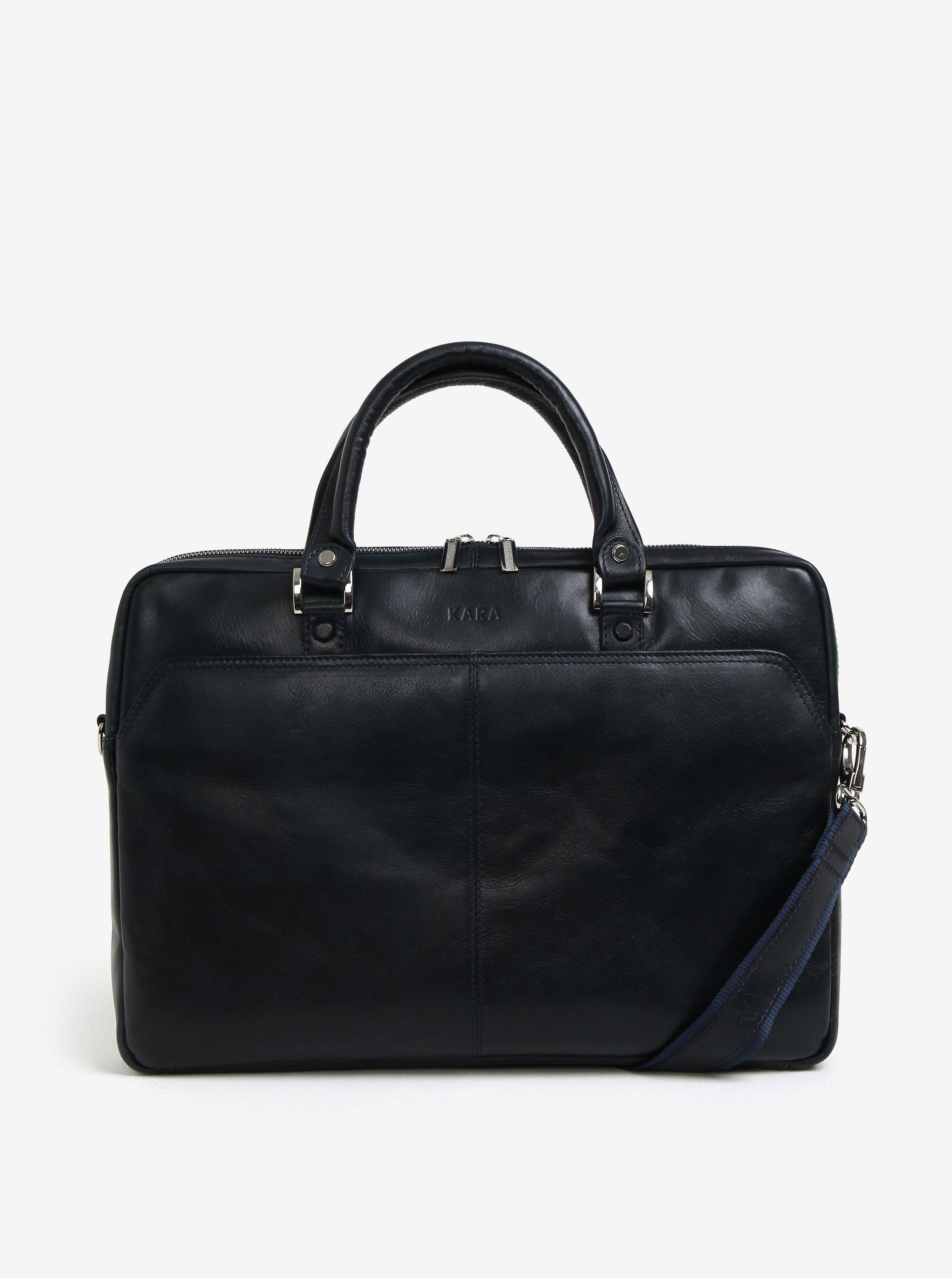 Tmavě modrá pánská kožená taška na notebook KARA