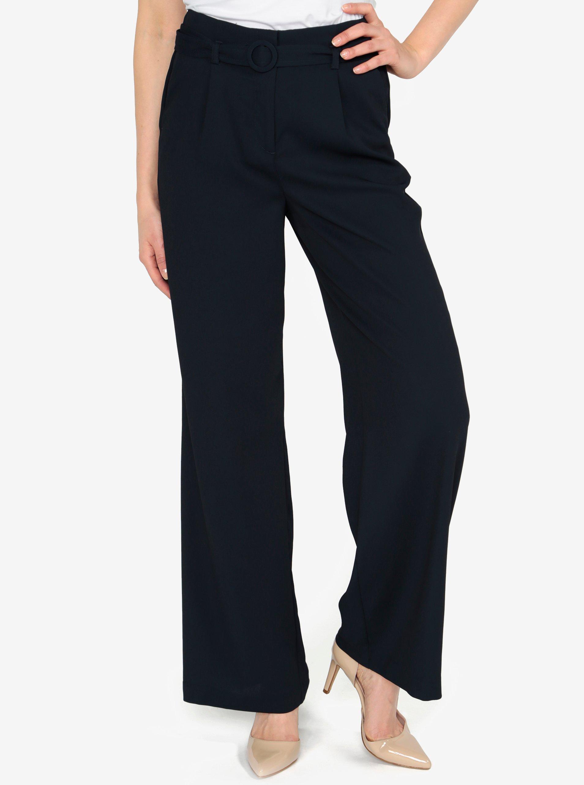 Fotografie Tmavě modré volné kalhoty s vysokým pasem a páskem VERO MODA Emmy