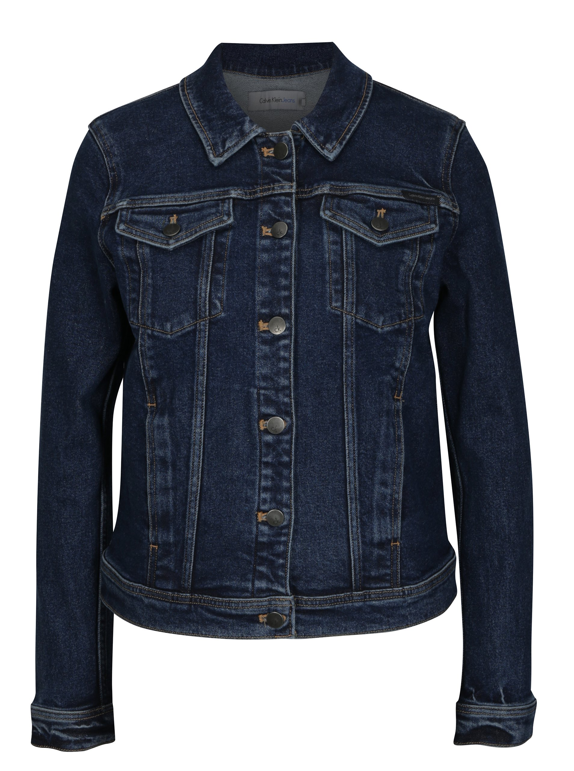 Modrá dámska rifľová bunda Calvin Klein Jeans Jet Trucker