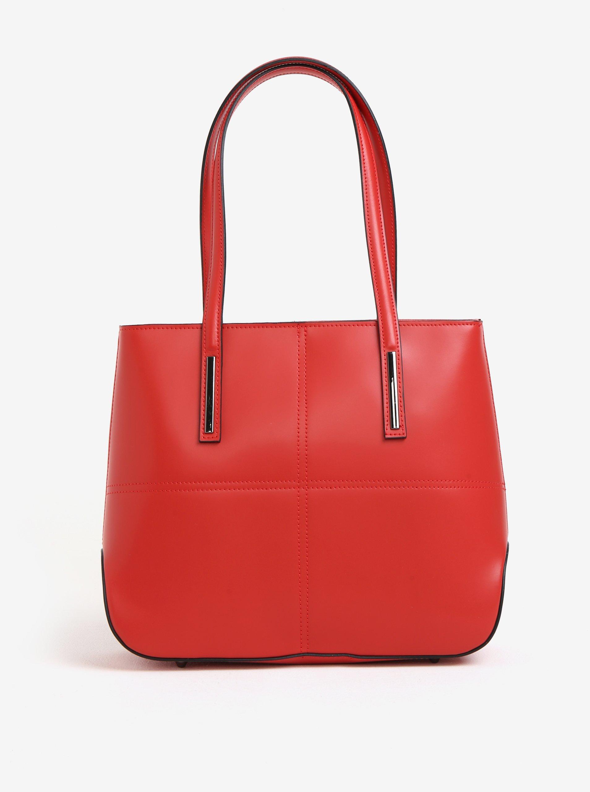 Červená dámská kožená kabelka KARA