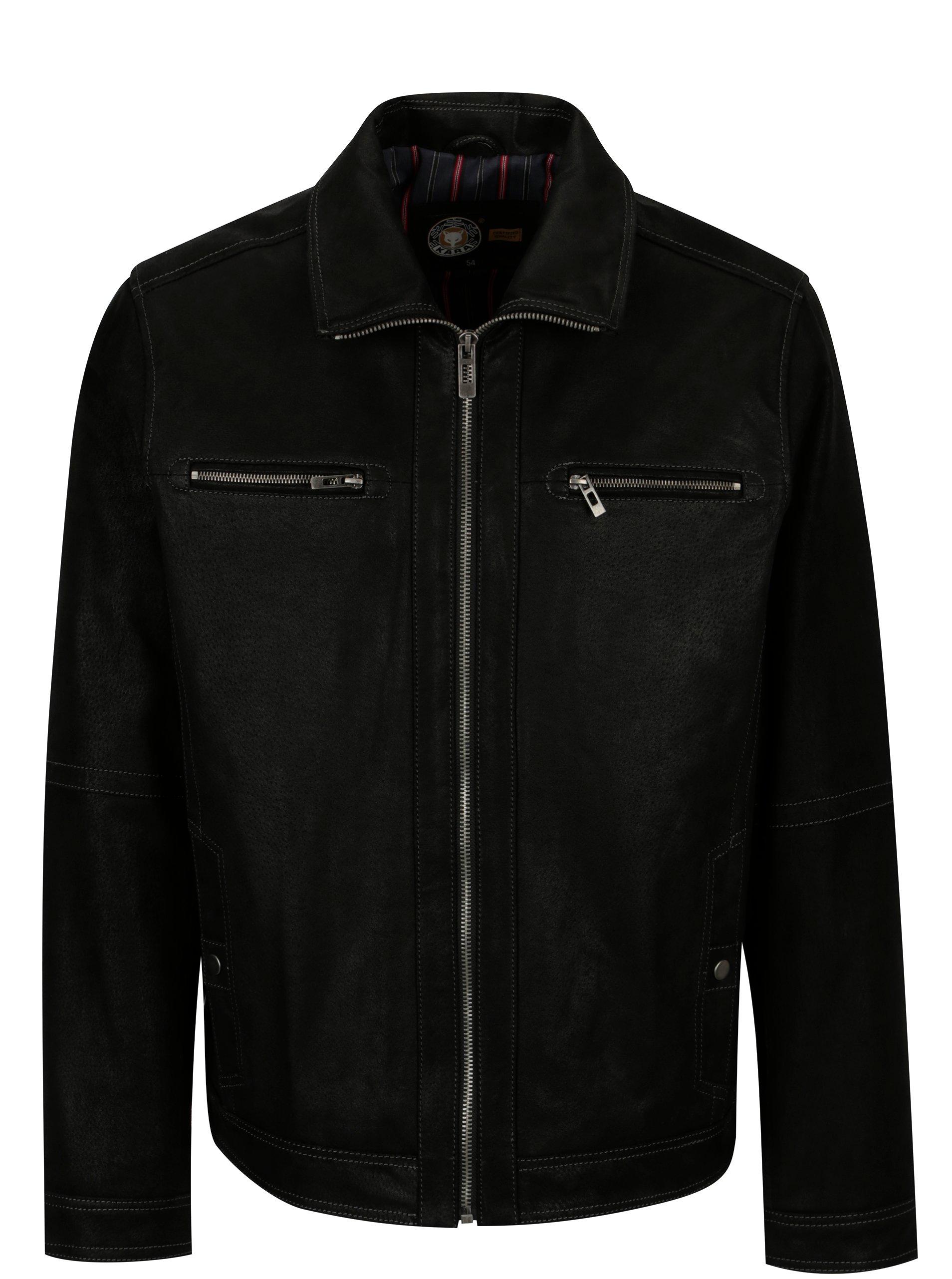 Čierna pánska kožená bunda KARA Mats