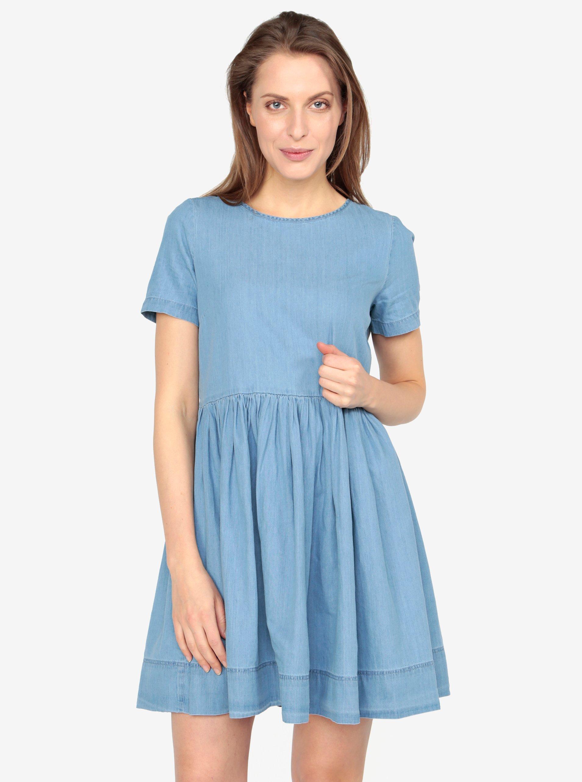 Světle modré volné džínové šaty VERO MODA Maya