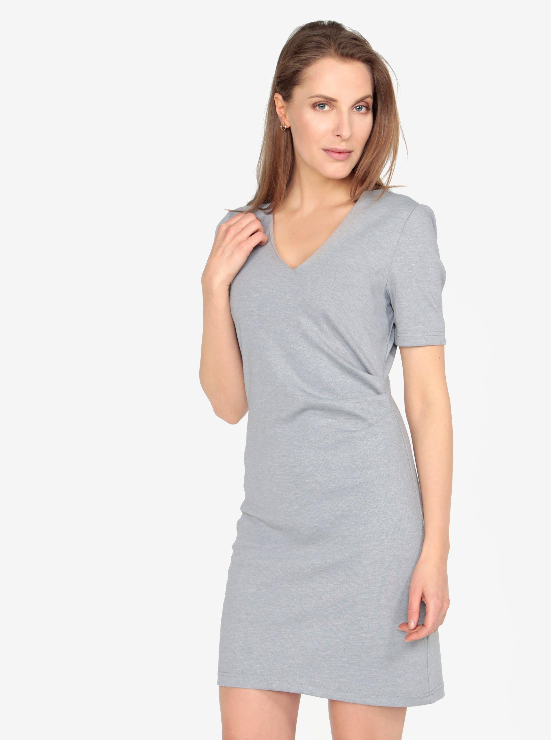 Fotografie Světle šedé žíhané šaty s véčkovým výstřihem a řasením VERO MODA Jenny