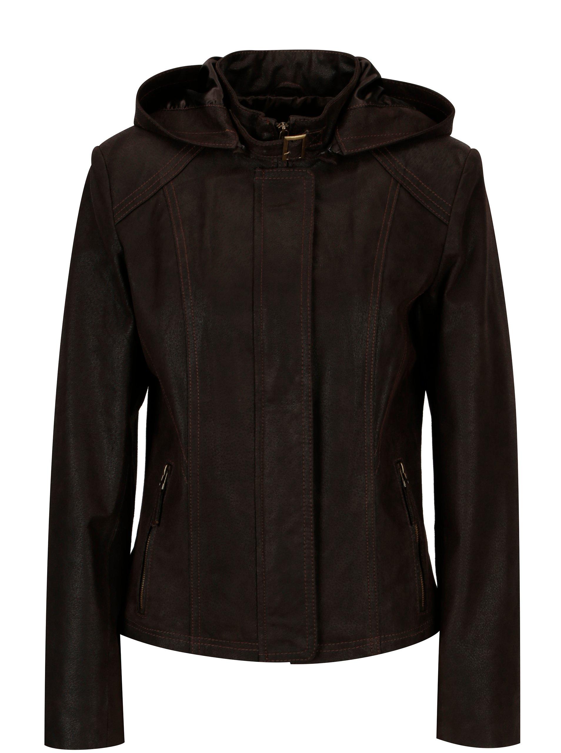 Tmavě hnědá dámská kožená bunda kapucí KARA Dominika B c1427e5d8fd